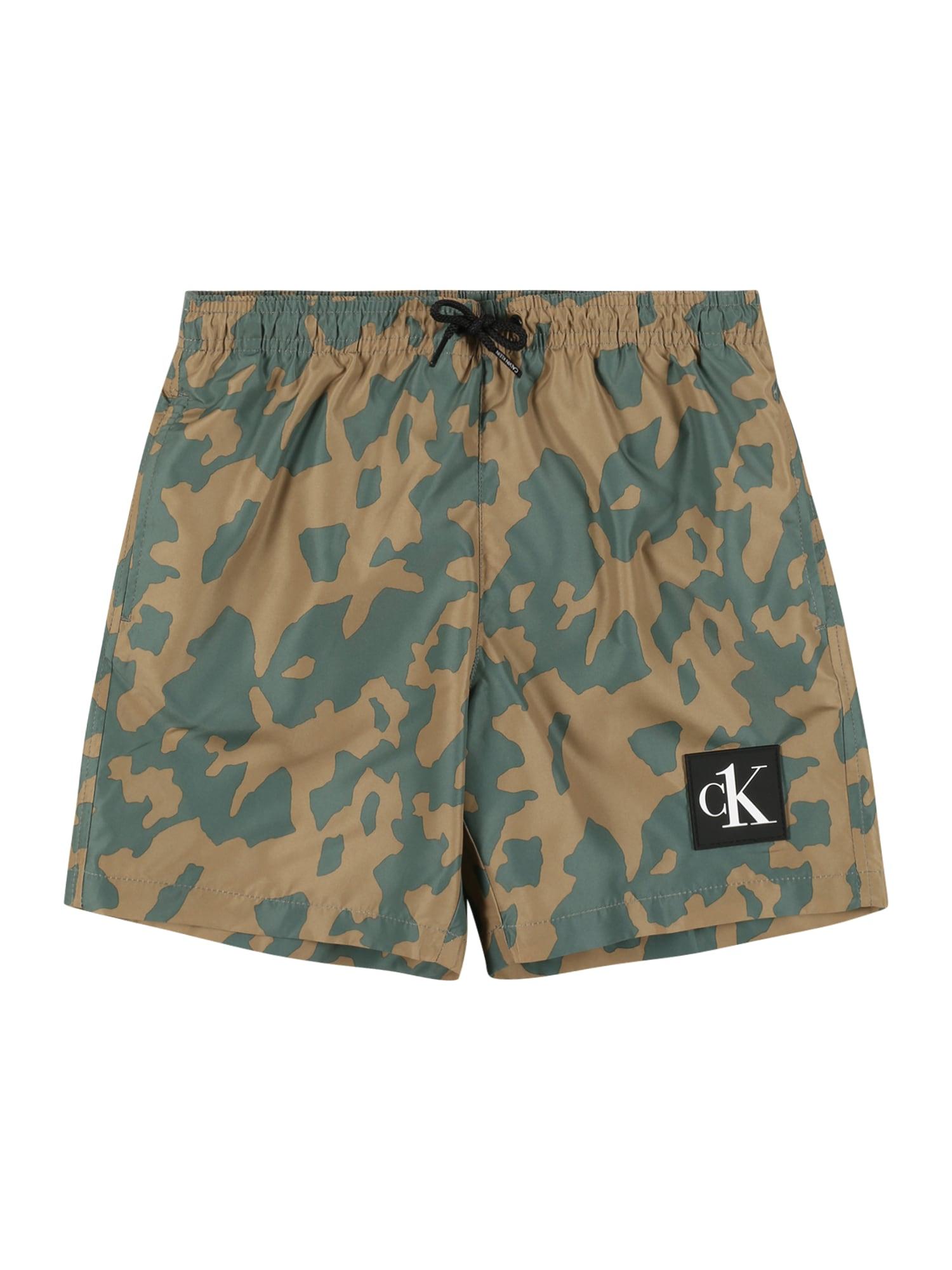 Calvin Klein Swimwear Maudymosi trumpikės smėlio / šviesiai pilka