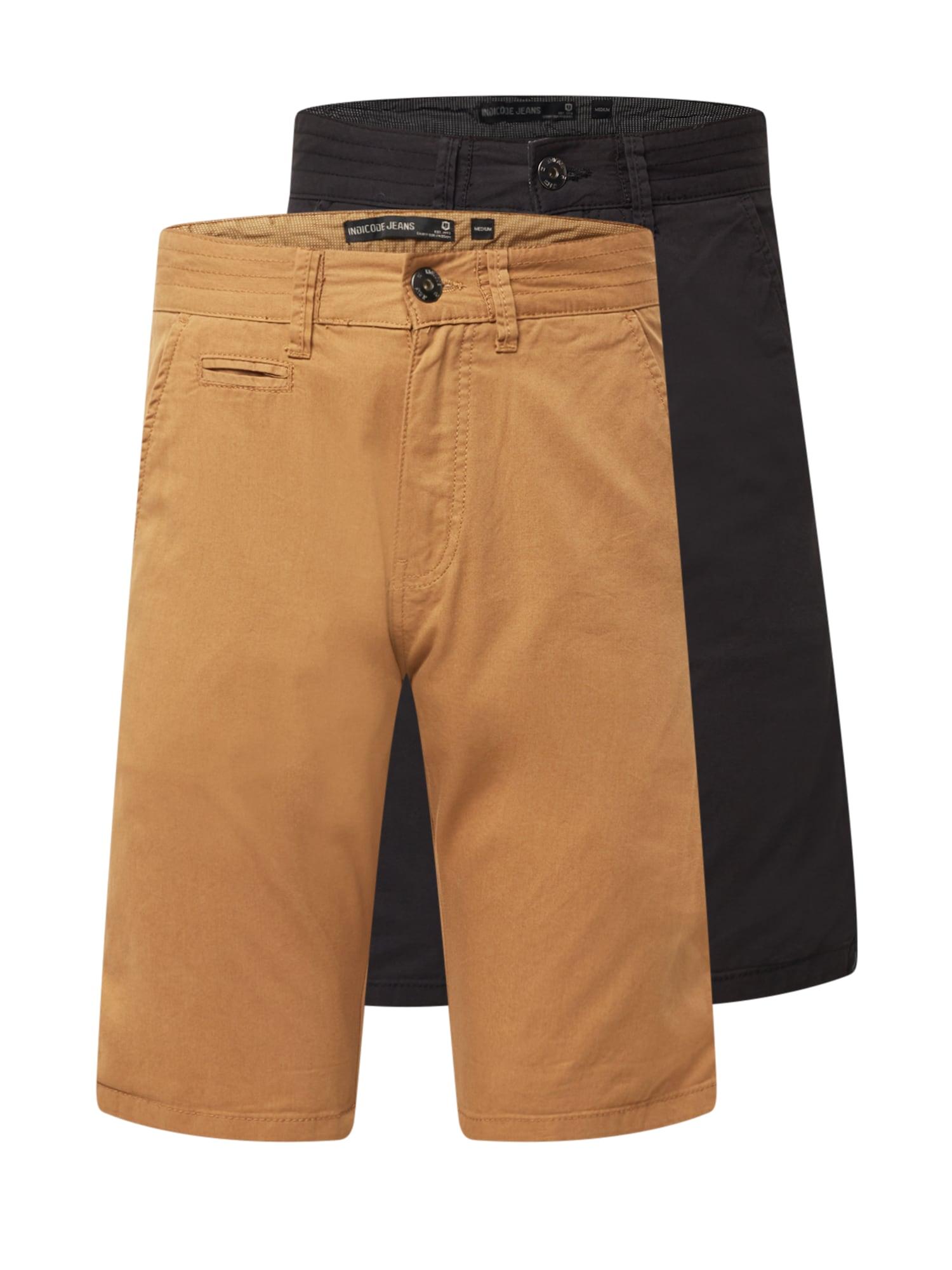 """INDICODE """"Chino"""" stiliaus kelnės rusvai žalia / juoda"""