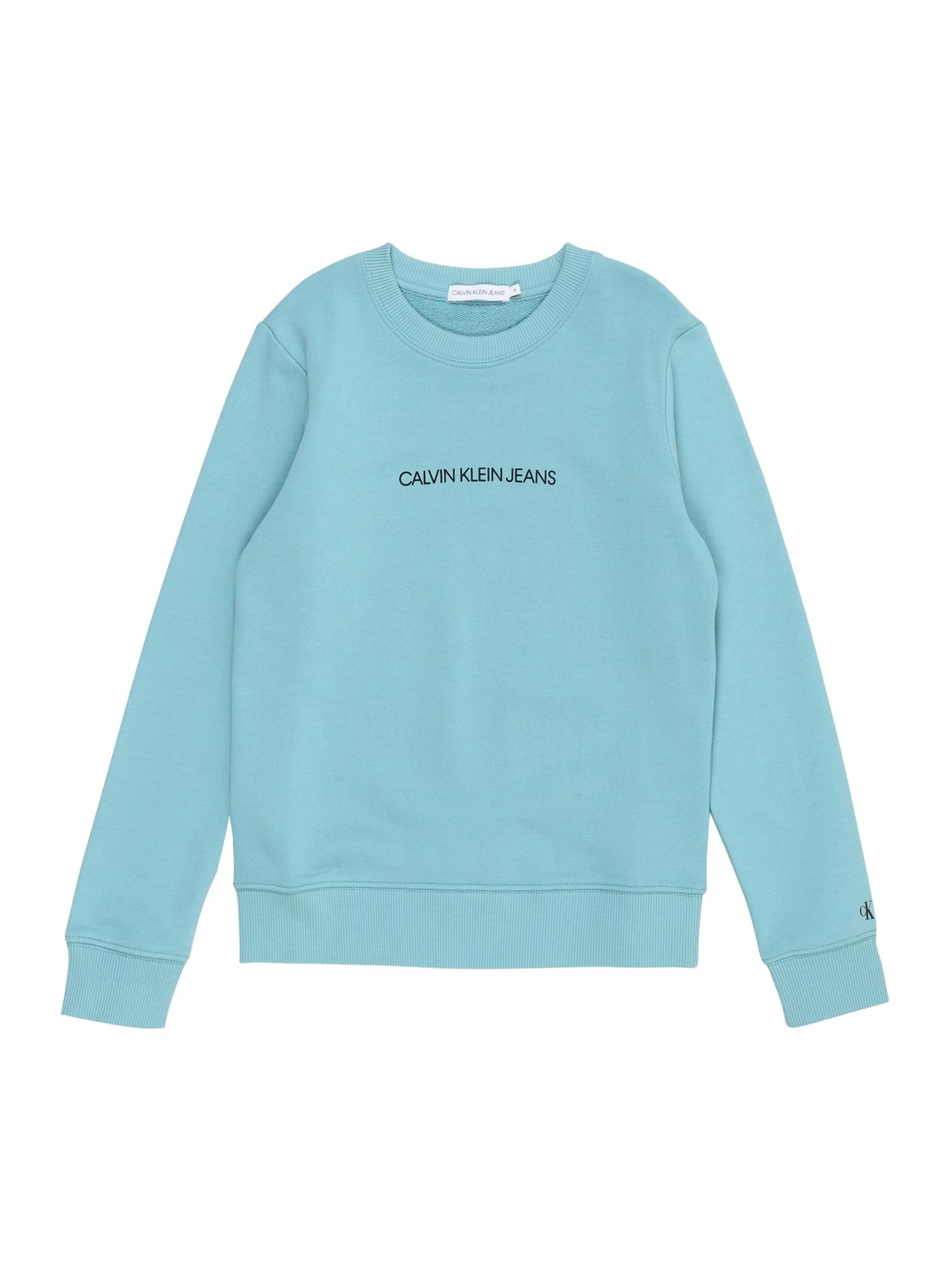 Calvin Klein Jeans Megztinis be užsegimo šviesiai mėlyna / tamsiai mėlyna