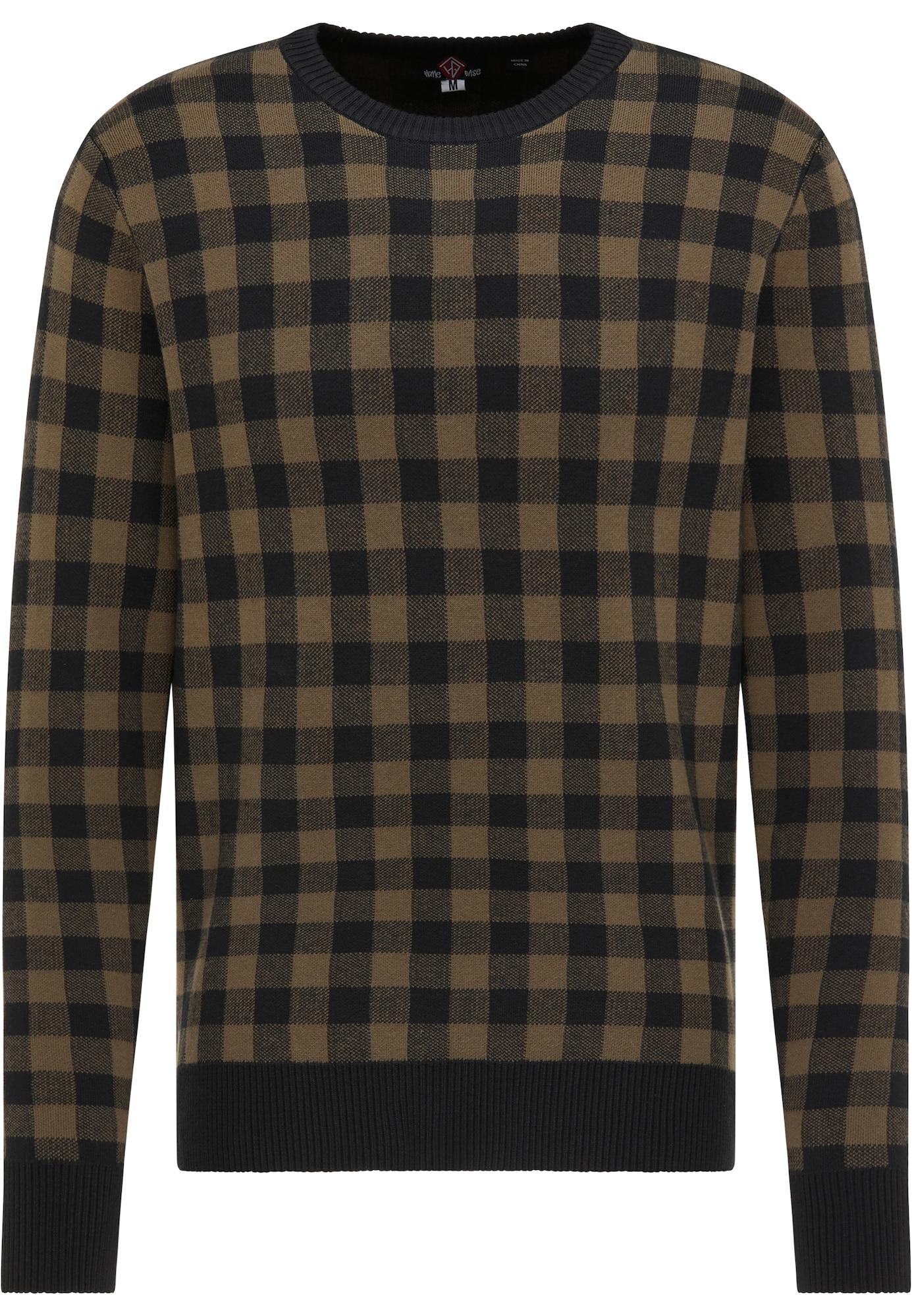 HOMEBASE Megztinis juoda / rusvai žalia