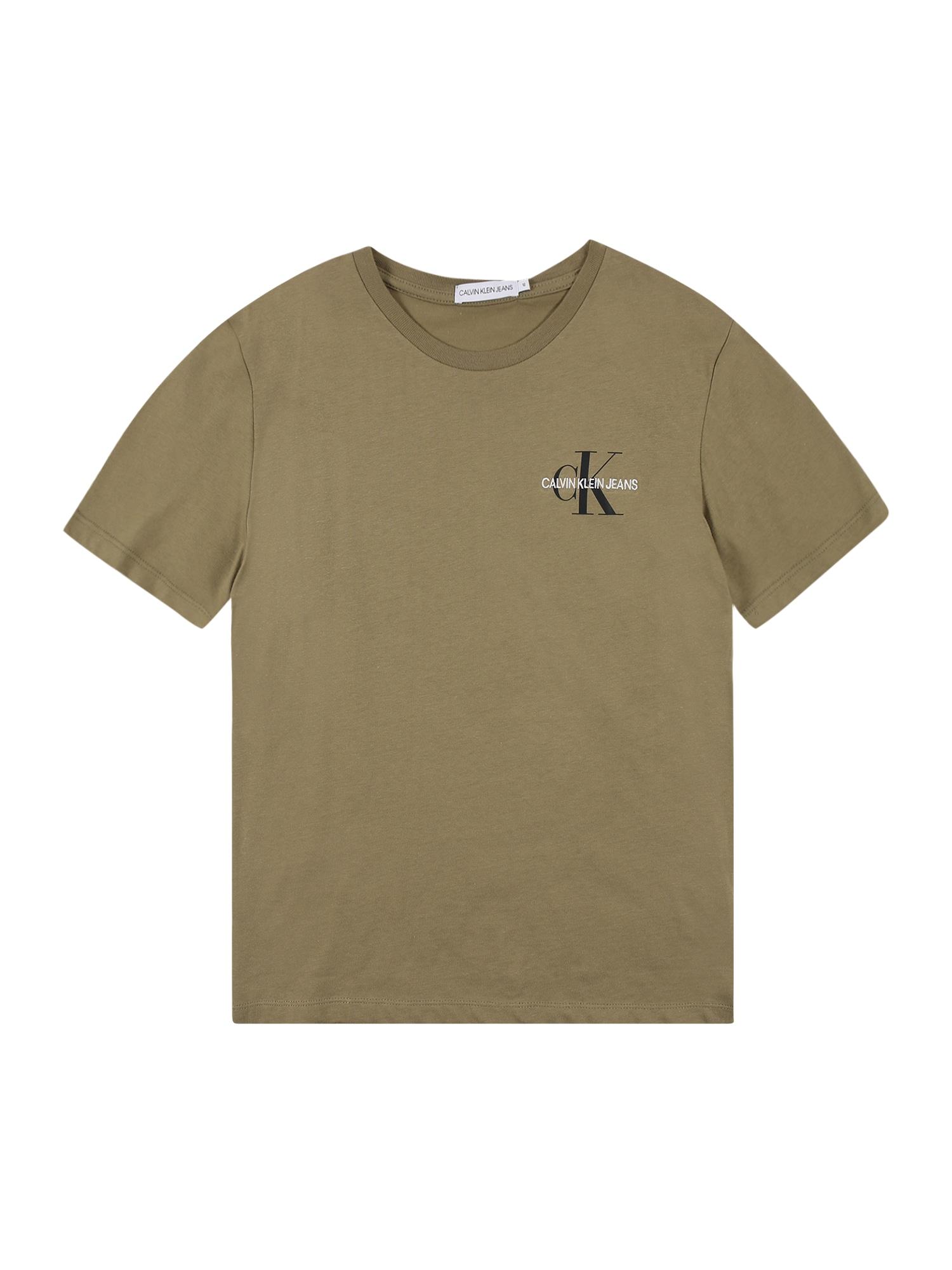 Calvin Klein Jeans Marškinėliai alyvuogių spalva / juoda / balta