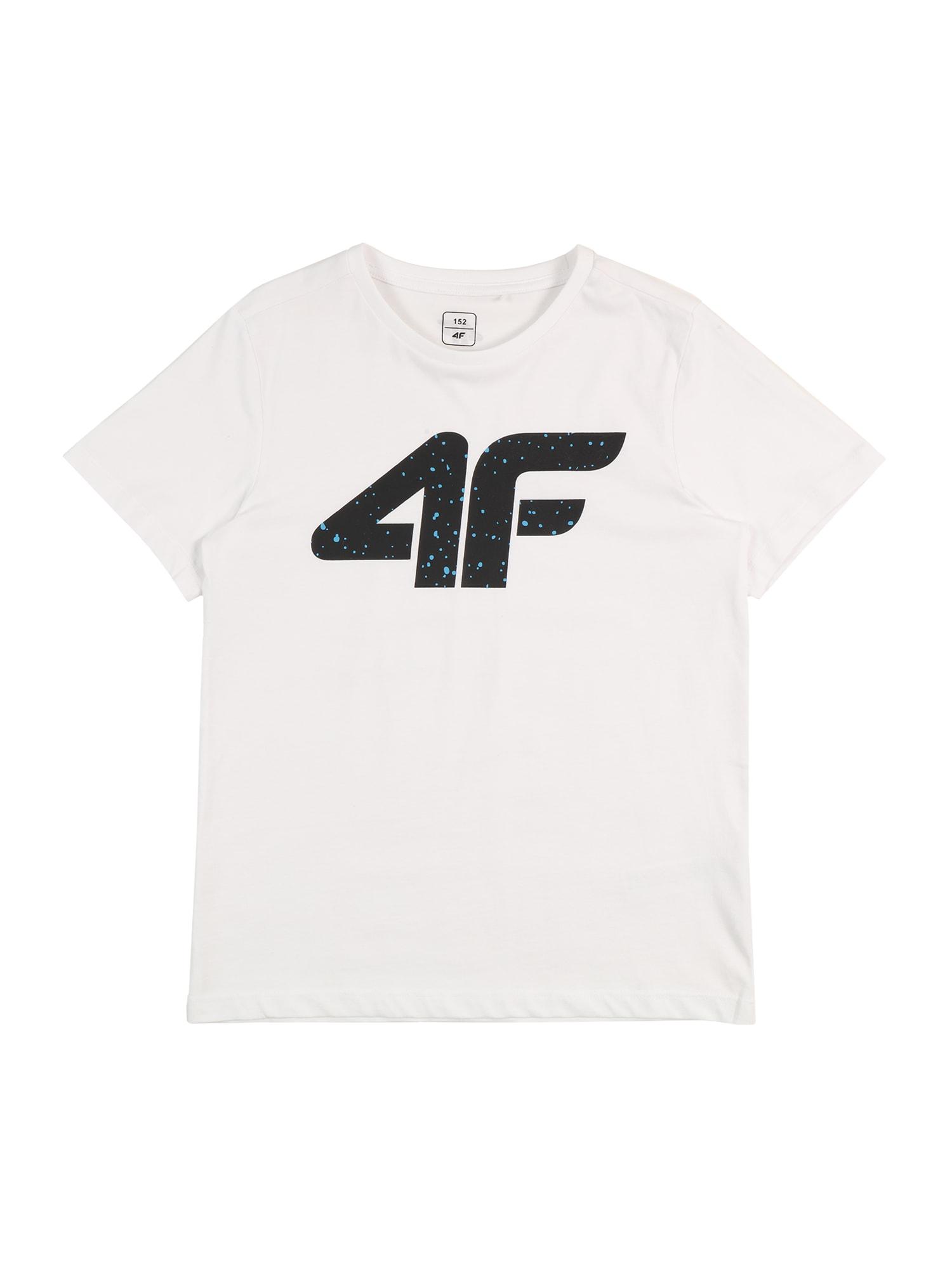 4F Sportiniai marškinėliai balta / juoda