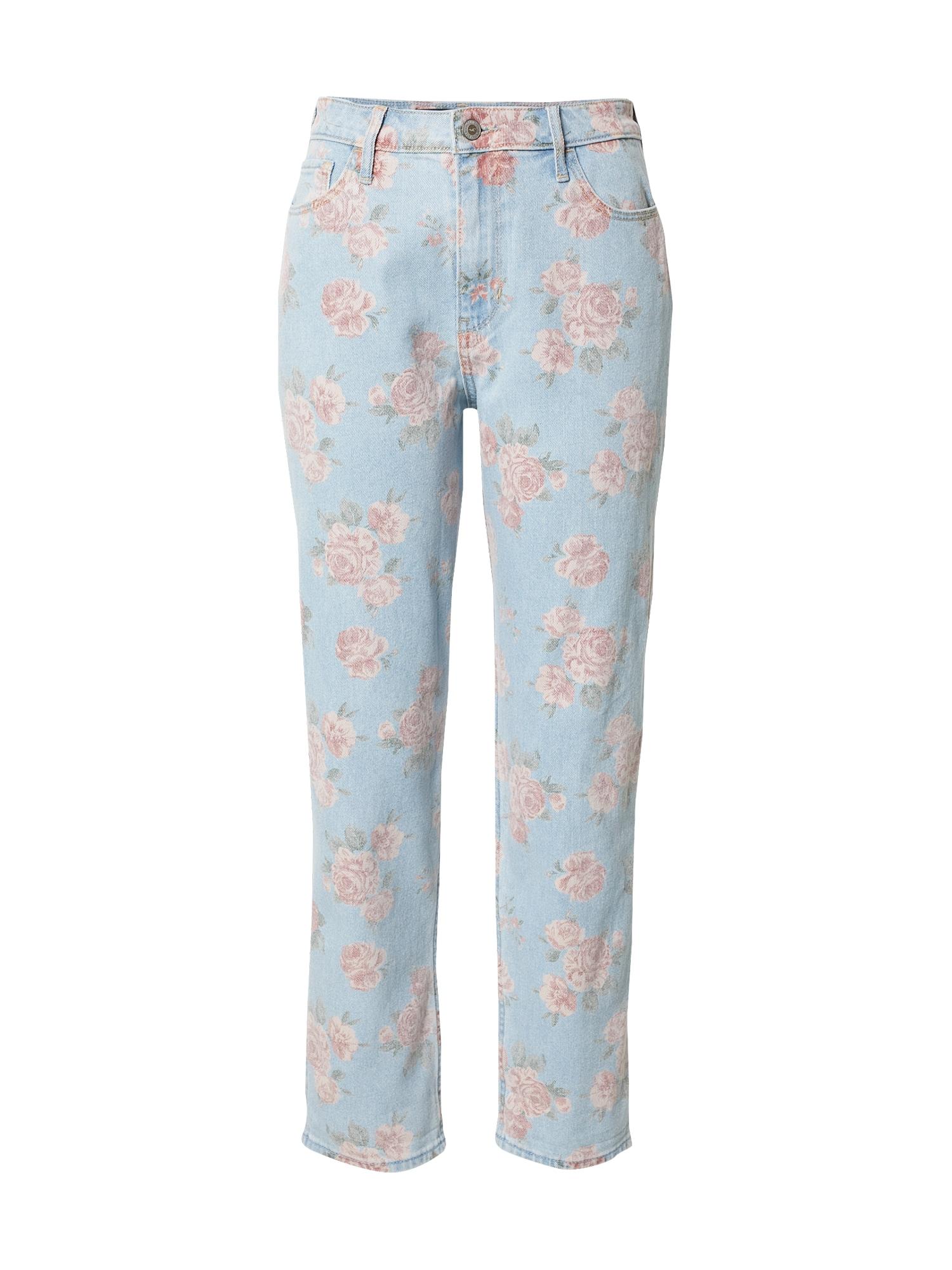 HOLLISTER Džinsai tamsiai (džinso) mėlyna / rožių spalva / ryškiai rožinė spalva / alyvuogių spalva