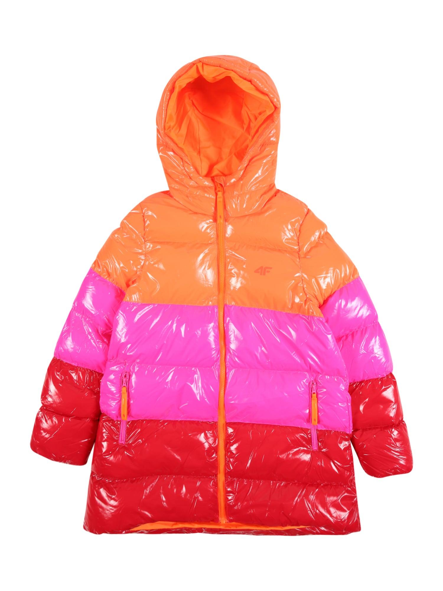 4F Laisvalaikio striukė oranžinė-raudona / ryškiai raudona / rožinė