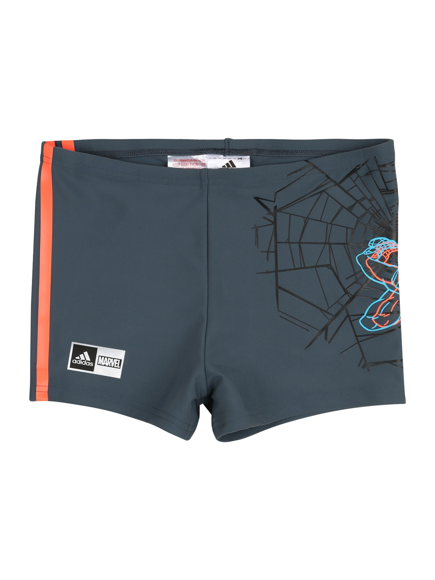 ADIDAS PERFORMANCE Sportinis maudymosi kostiumėlis 'SPIDERMAN' tamsiai mėlyna / oranžinė / juoda / nefrito spalva