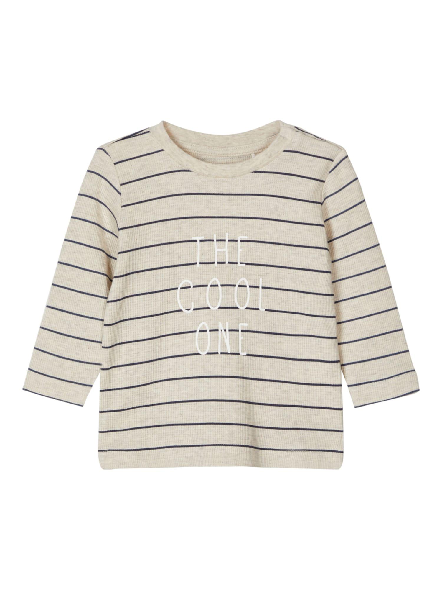 NAME IT Marškinėliai 'NBMTIPANO' šviesiai pilka / balta / mėlyna