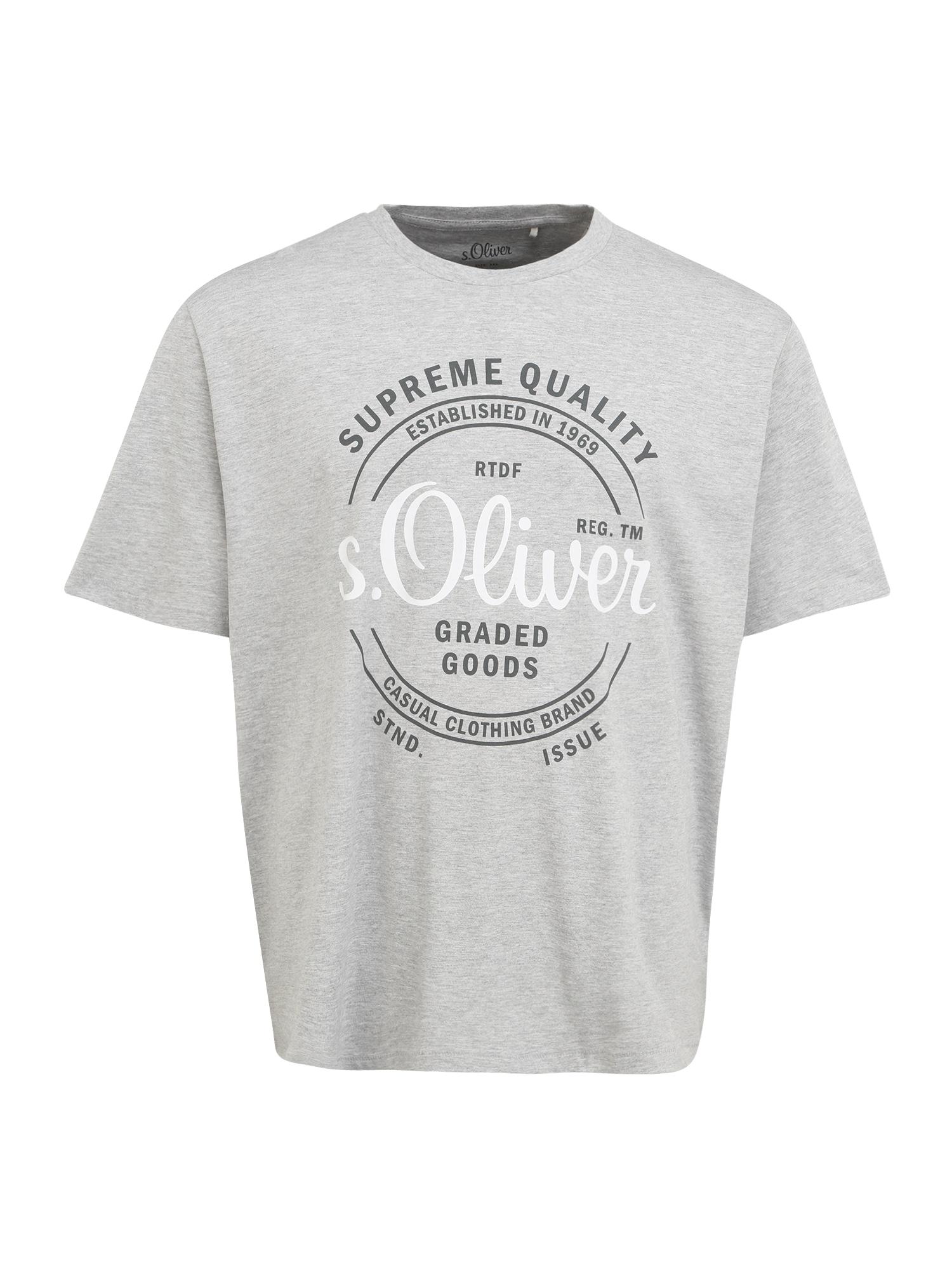 s.Oliver Red Label Big & Tall Marškinėliai balta / juoda / margai pilka