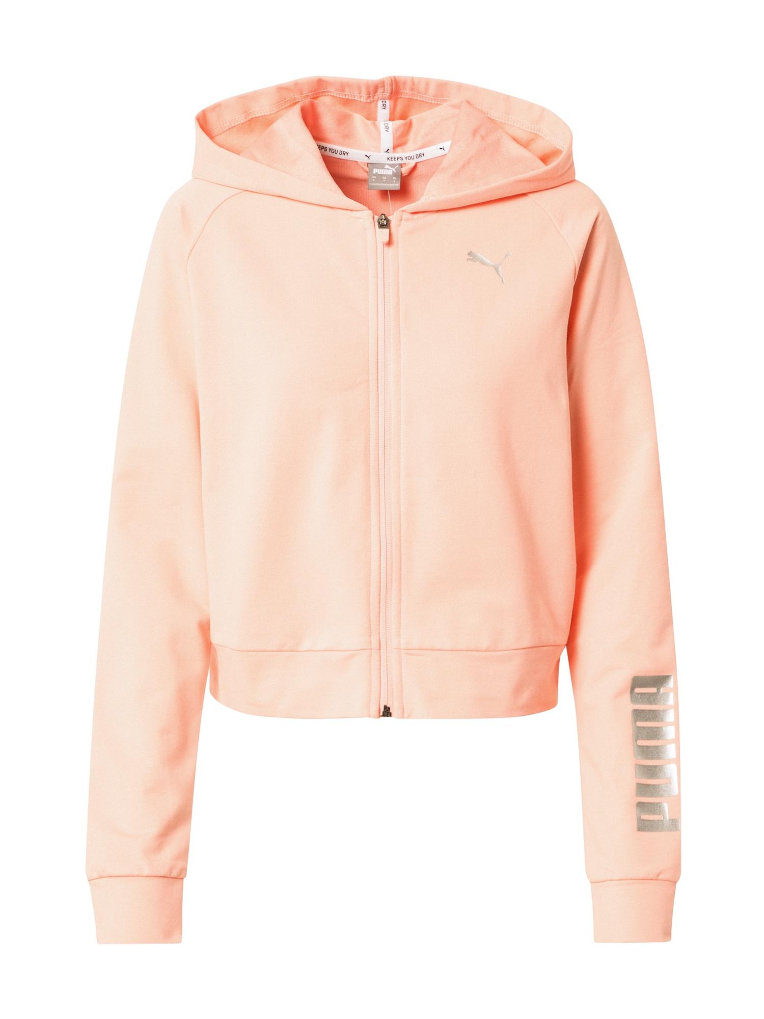 PUMA Sportinis džemperis persikų spalva / sidabrinė