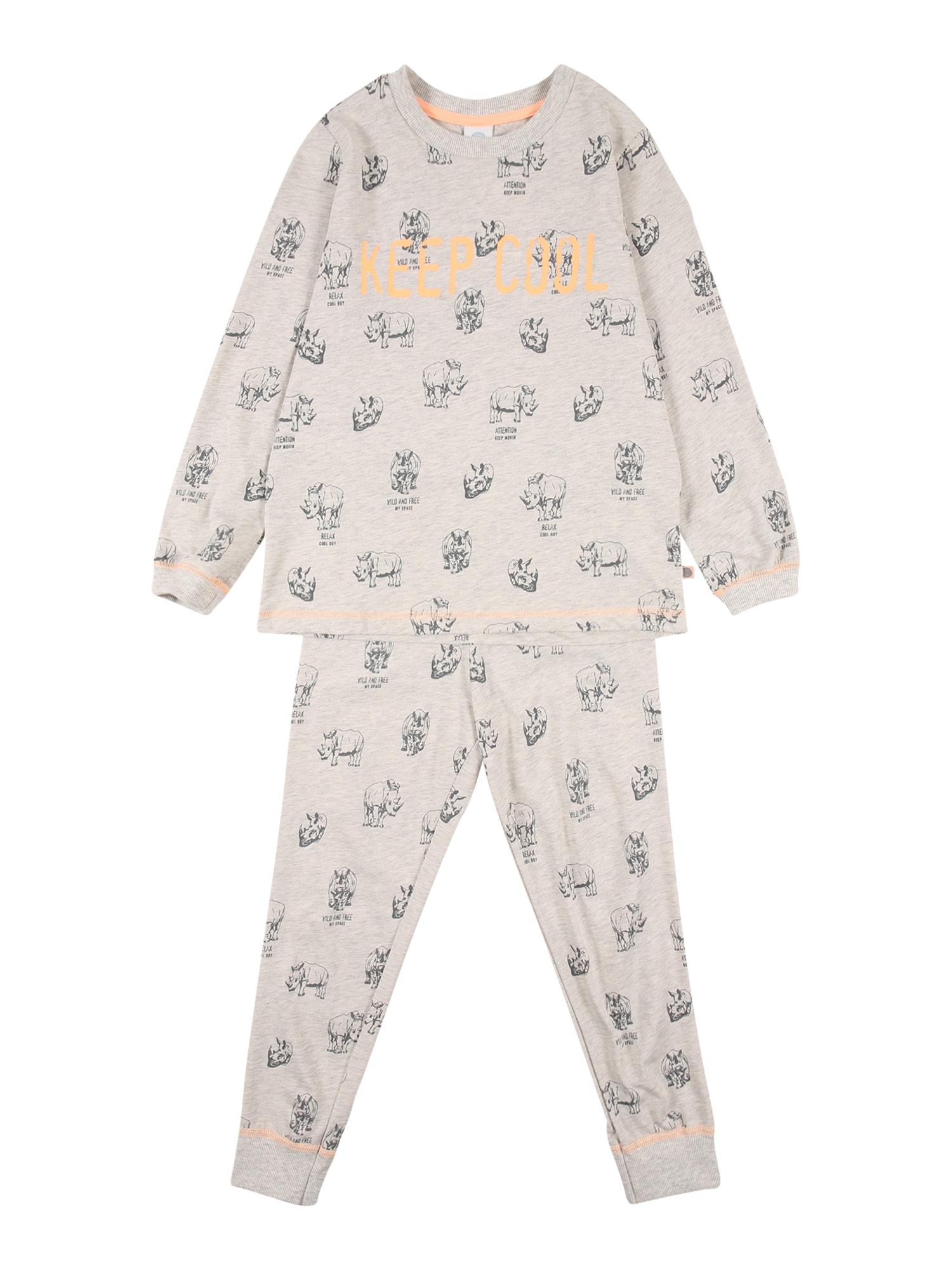 SANETTA Miego kostiumas šviesiai pilka / pilka / oranžinė