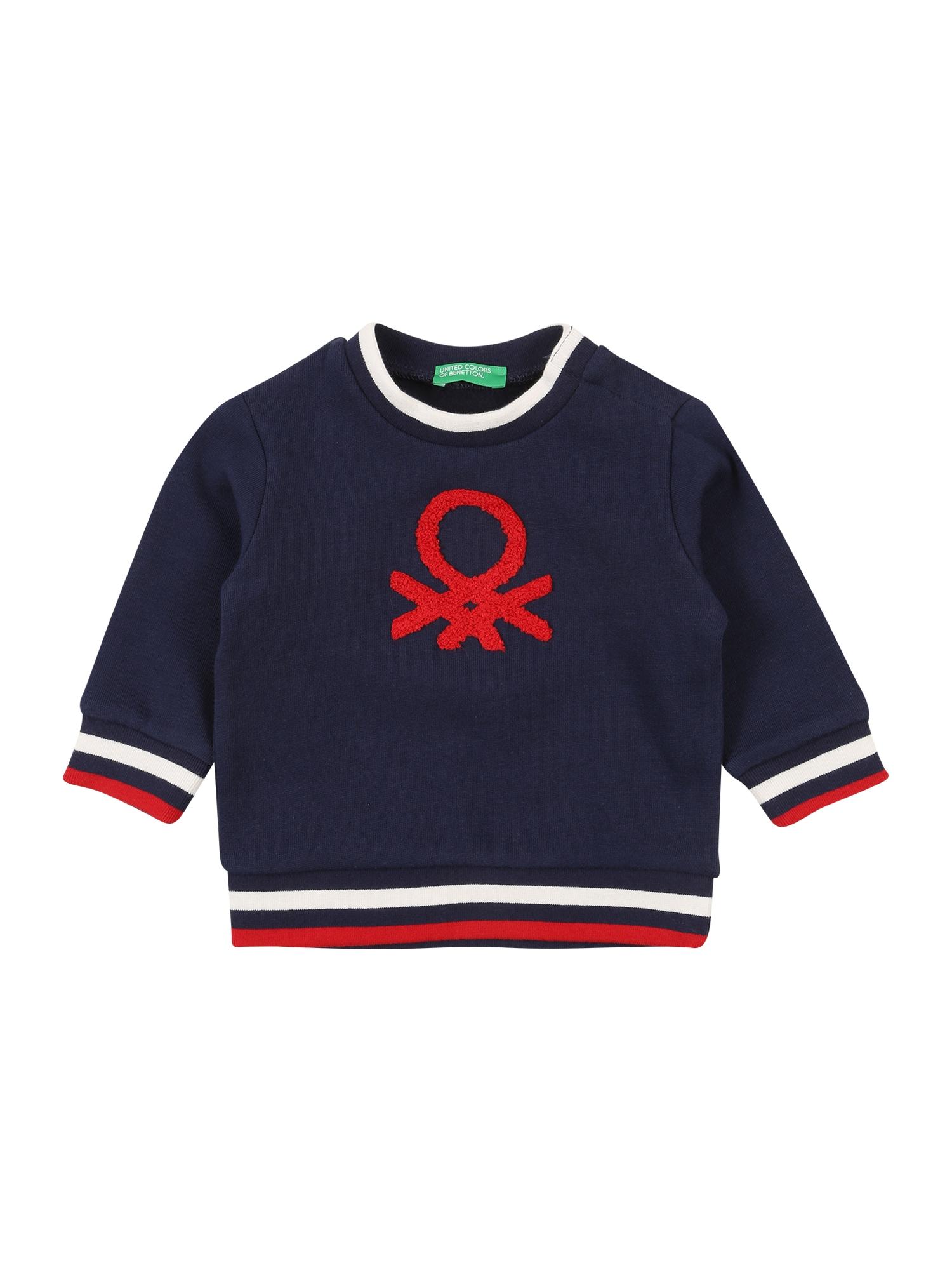 UNITED COLORS OF BENETTON Mikina  námořnická modř / červená / bílá