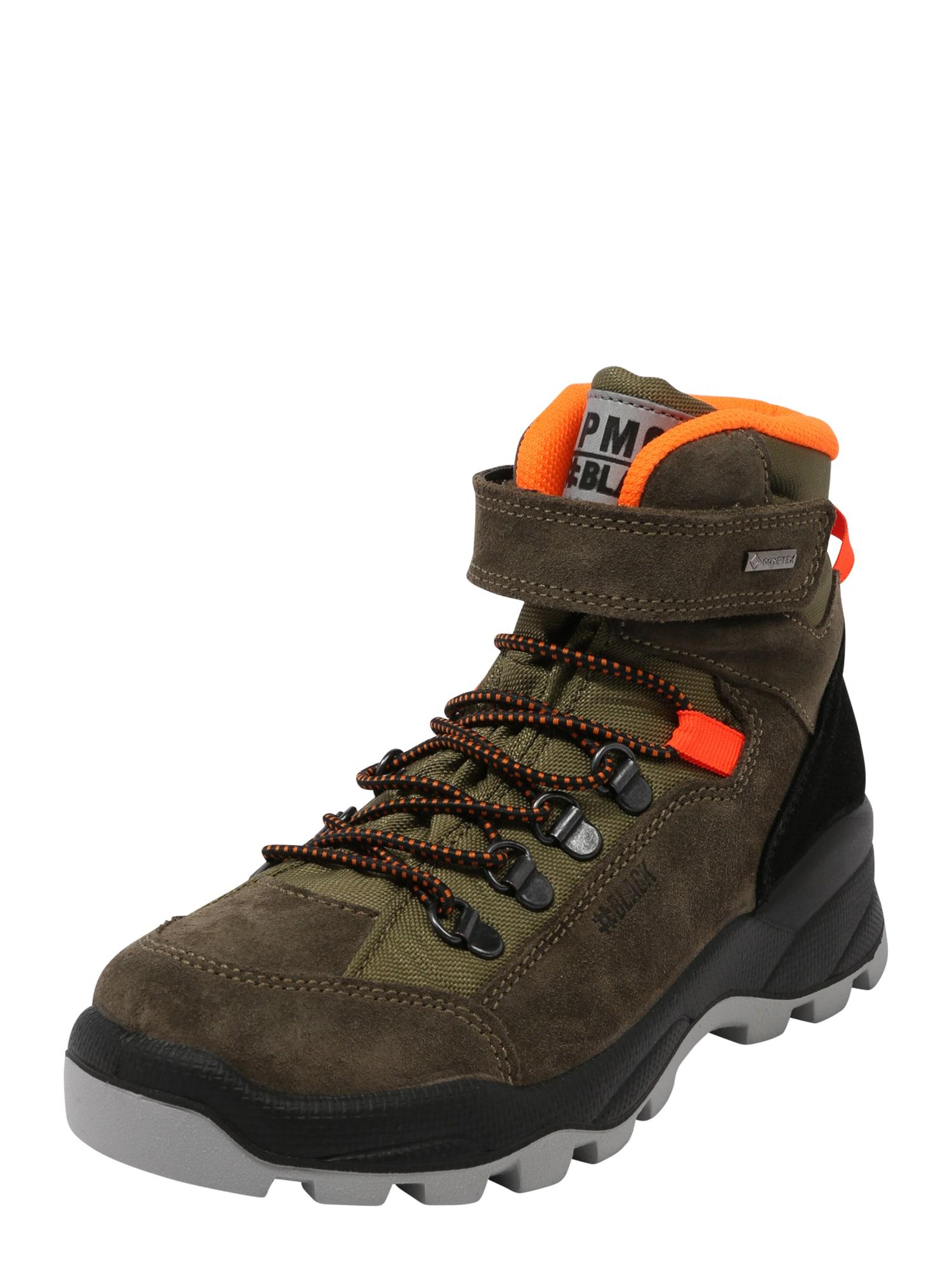 PRIMIGI Auliniai batai su kulniuku 'Pohgt' alyvuogių spalva / juoda / neoninė oranžinė / tamsiai pilka