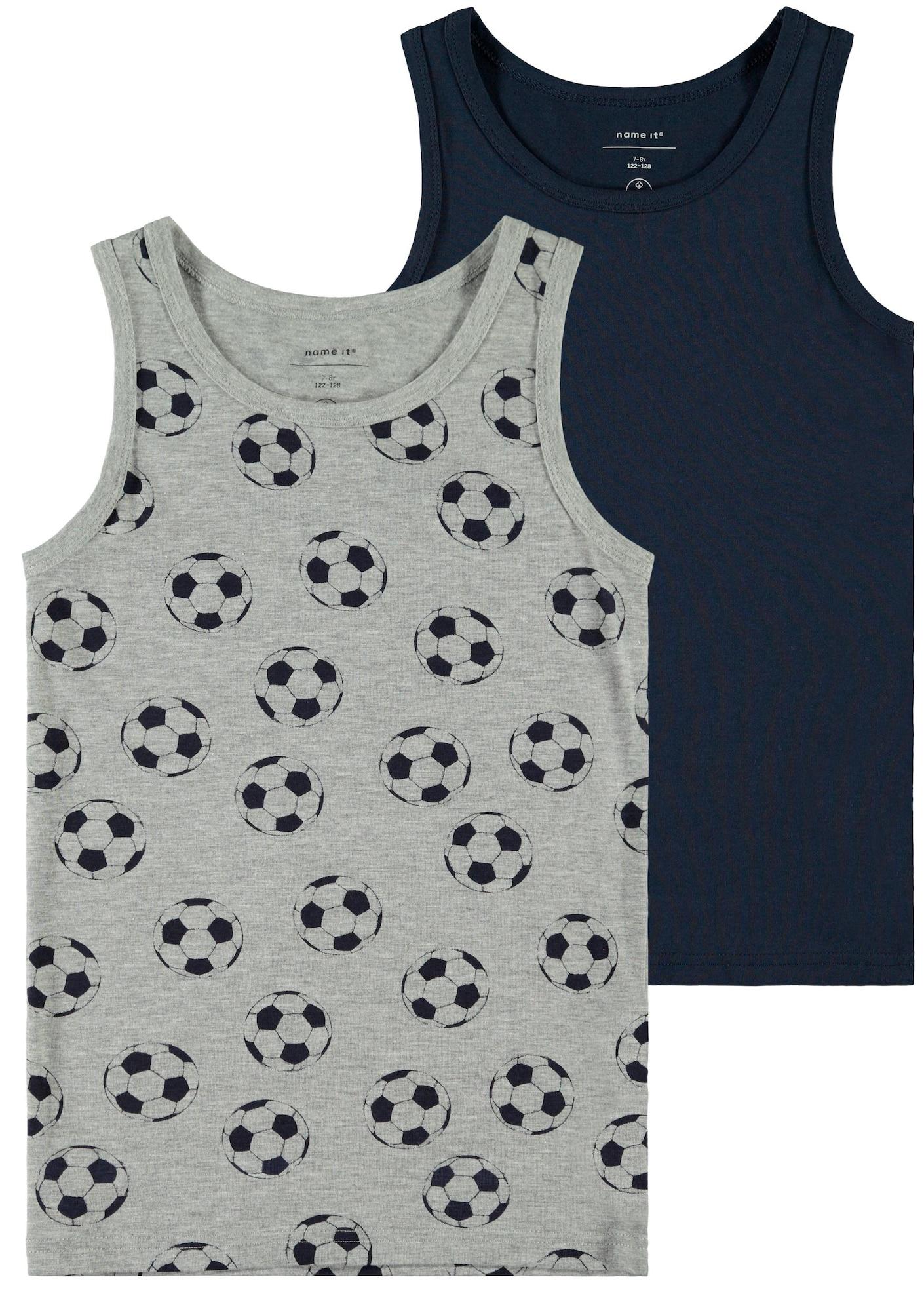 NAME IT Apatiniai marškinėliai nakties mėlyna / margai pilka