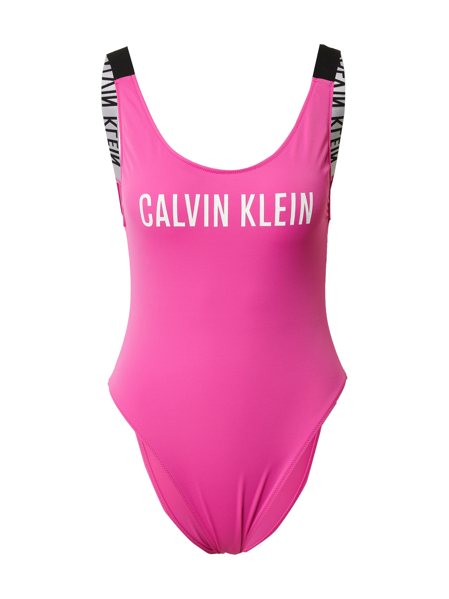Calvin Klein Swimwear Maudymosi kostiumėlis juoda / balta / fuksijų spalva