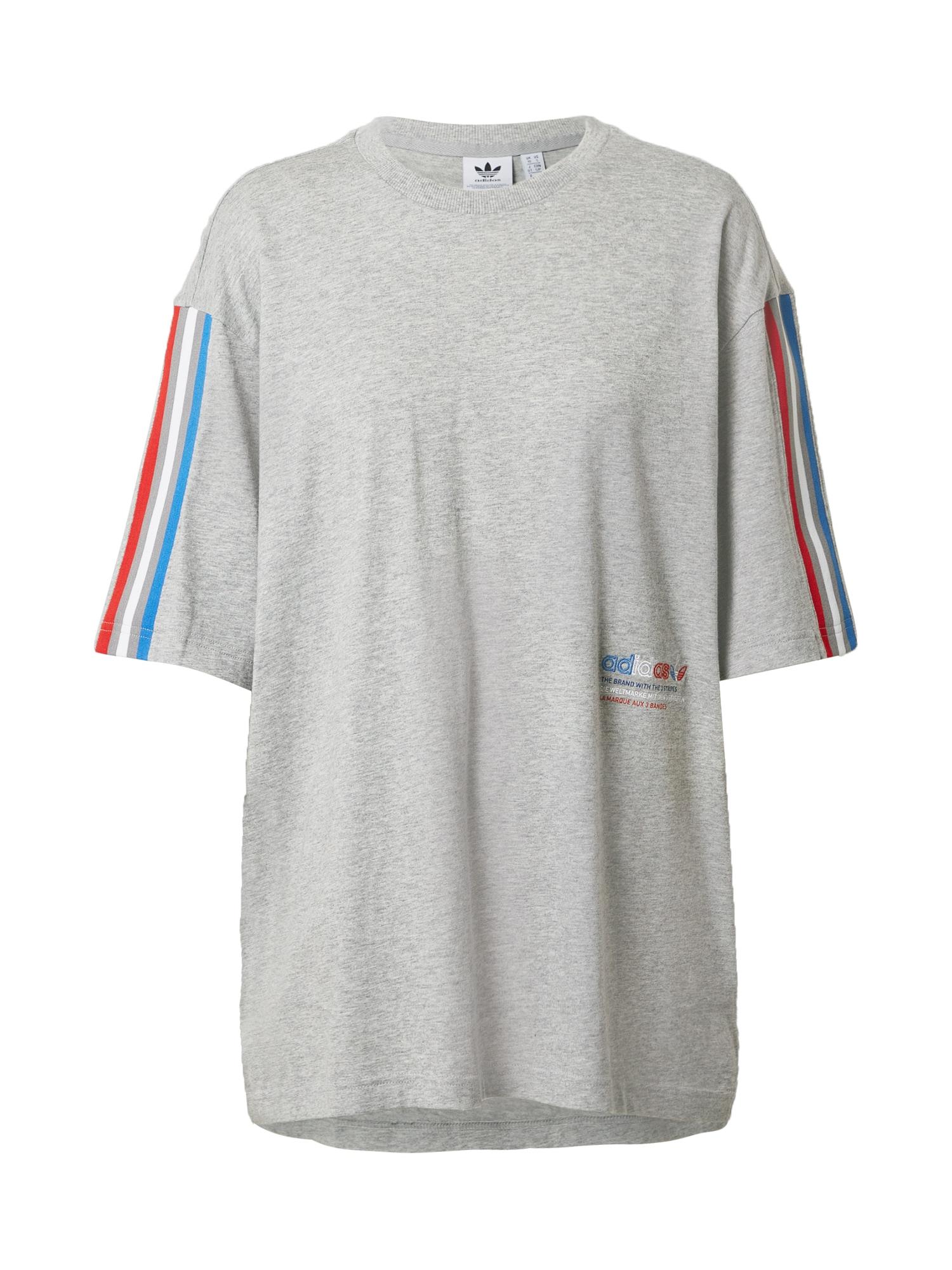 ADIDAS ORIGINALS Marškinėliai margai pilka / balta / dangaus žydra / raudona