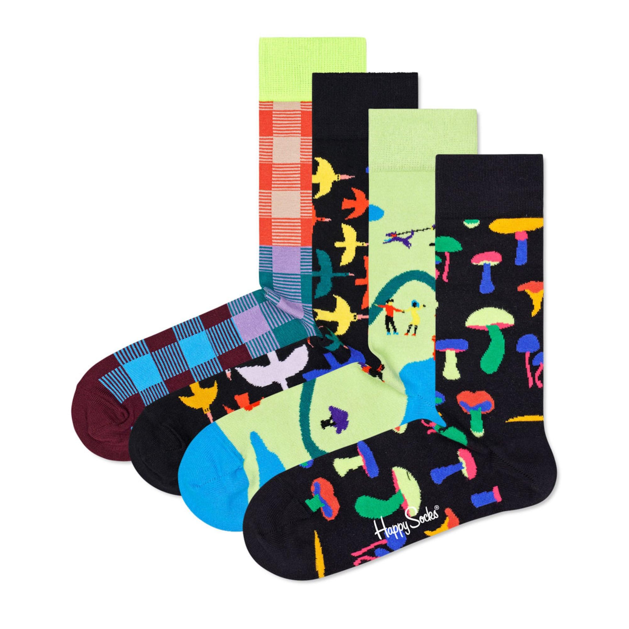 Happy Socks Kojinės juoda / benzino spalva / tamsiai oranžinė / geltona / purpurinė