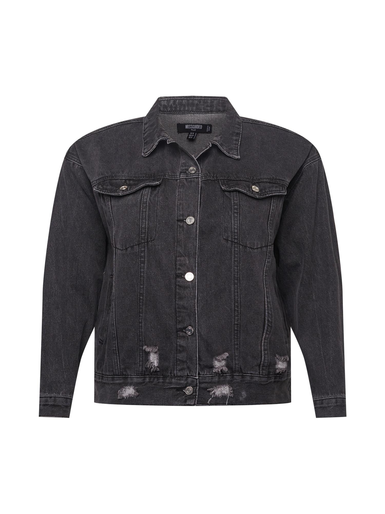 Missguided Plus Demisezoninė striukė juodo džinso spalva