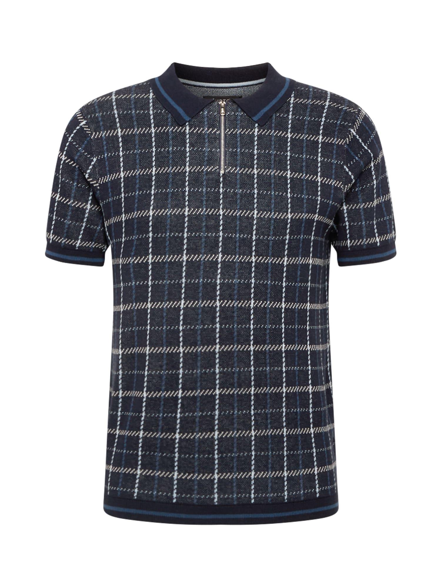 BURTON MENSWEAR LONDON Marškinėliai tamsiai mėlyna / dangaus žydra / šviesiai pilka