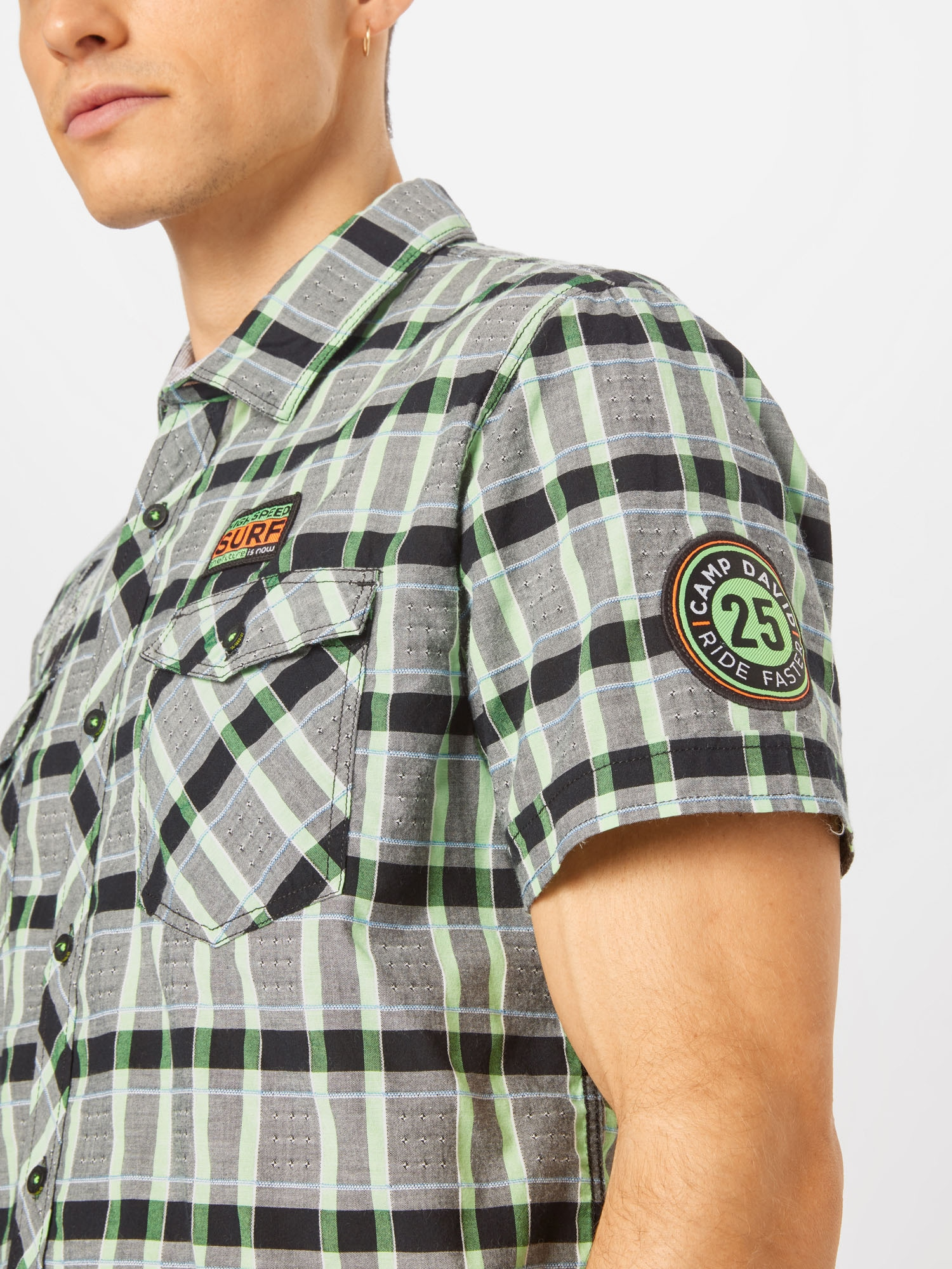 CAMP DAVID Košeľa  zelená / sivá / čierna.