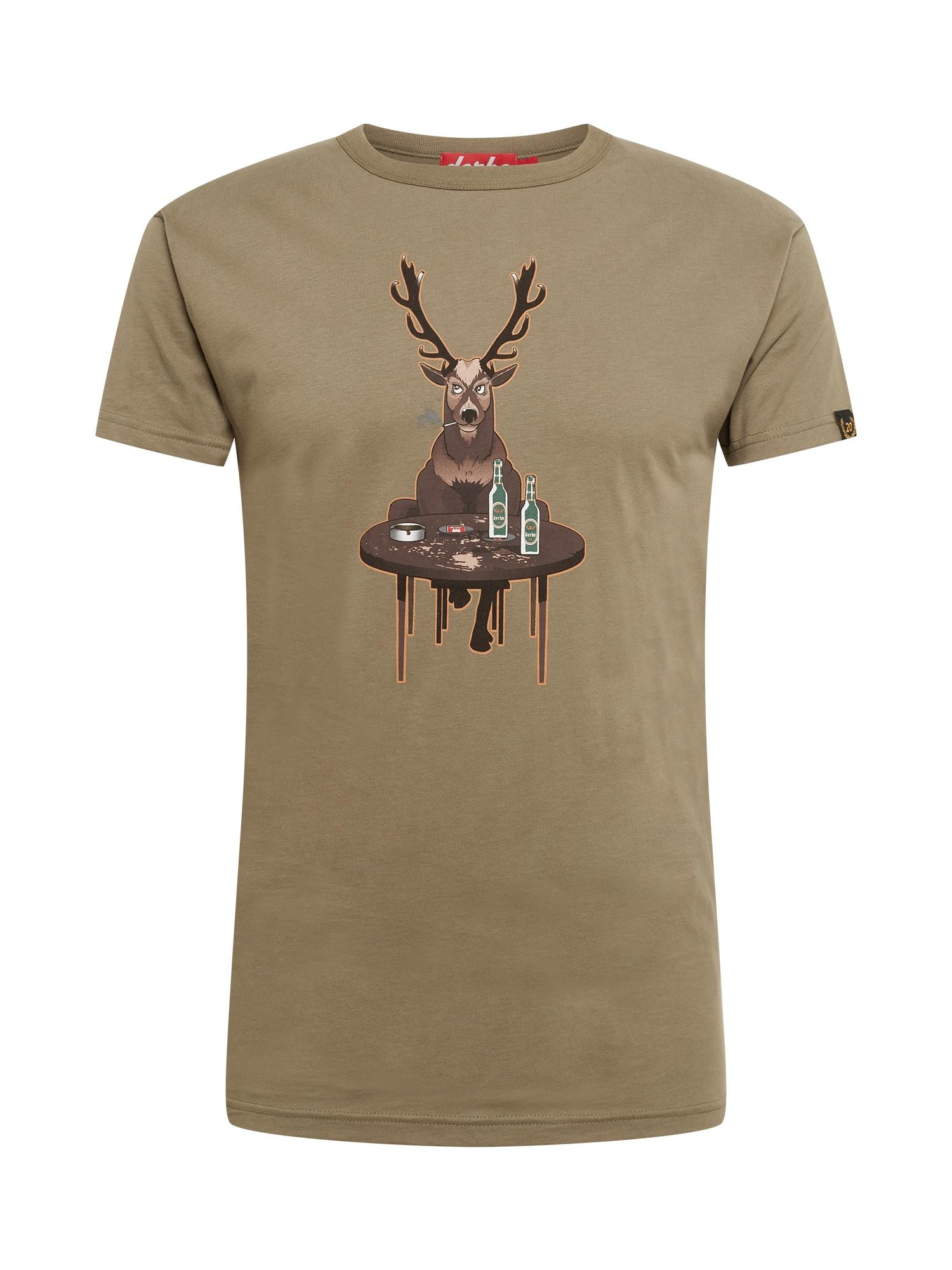 Derbe Marškinėliai alyvuogių spalva / ruda