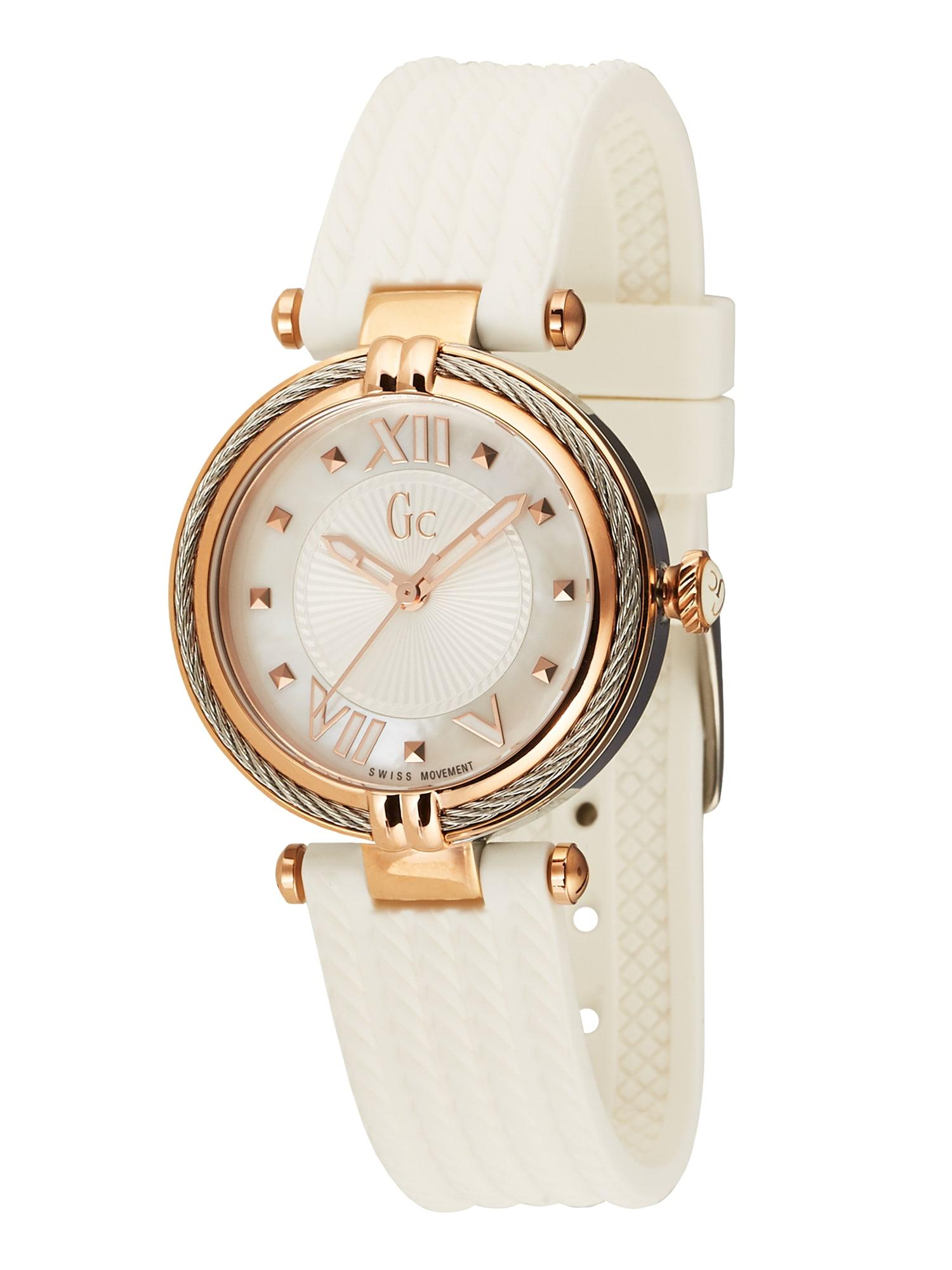 Gc Analoginis (įprasto dizaino) laikrodis 'Cable Chic' balta / rožinio aukso spalva / sidabrinė
