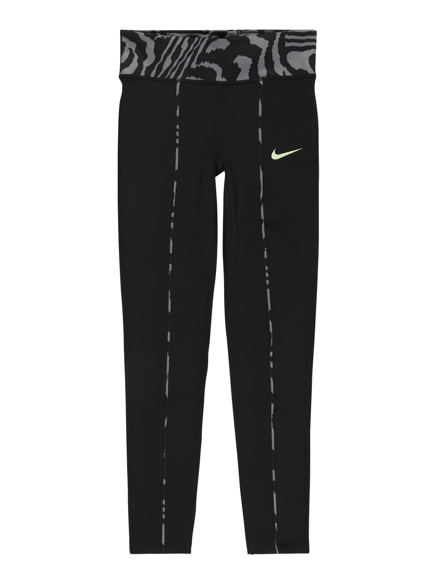 NIKE Sportinės kelnės 'One' juoda / pilka / neoninė žalia