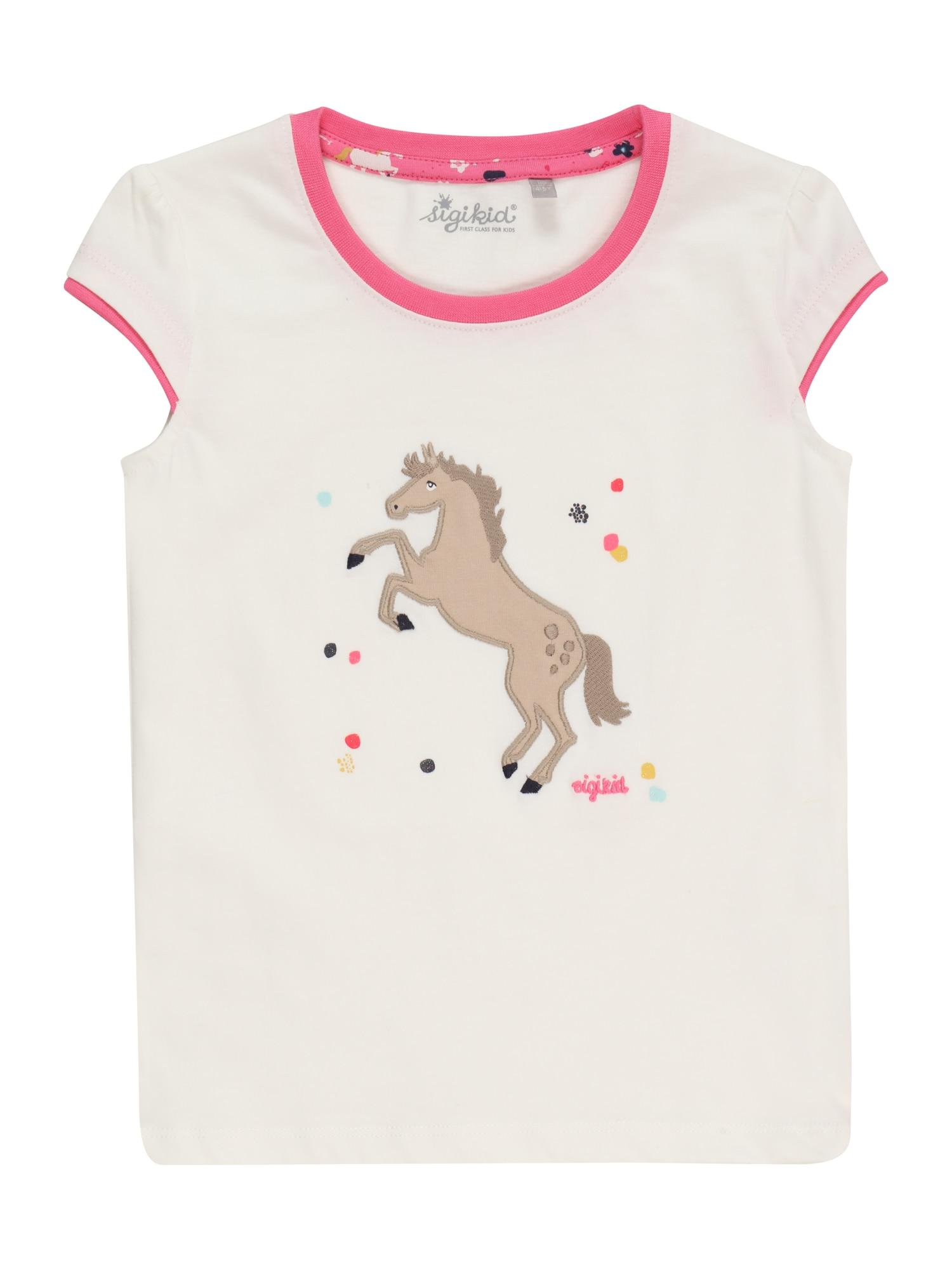 SIGIKID Marškinėliai balta / tamsiai rožinė / tamsiai ruda / brokato spalva / nefrito spalva