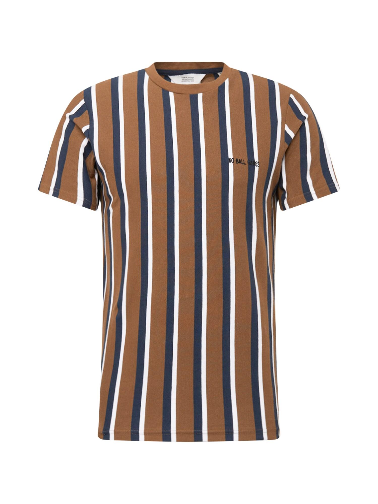 !Solid Tričko  hnědá / tmavě modrá / bílá