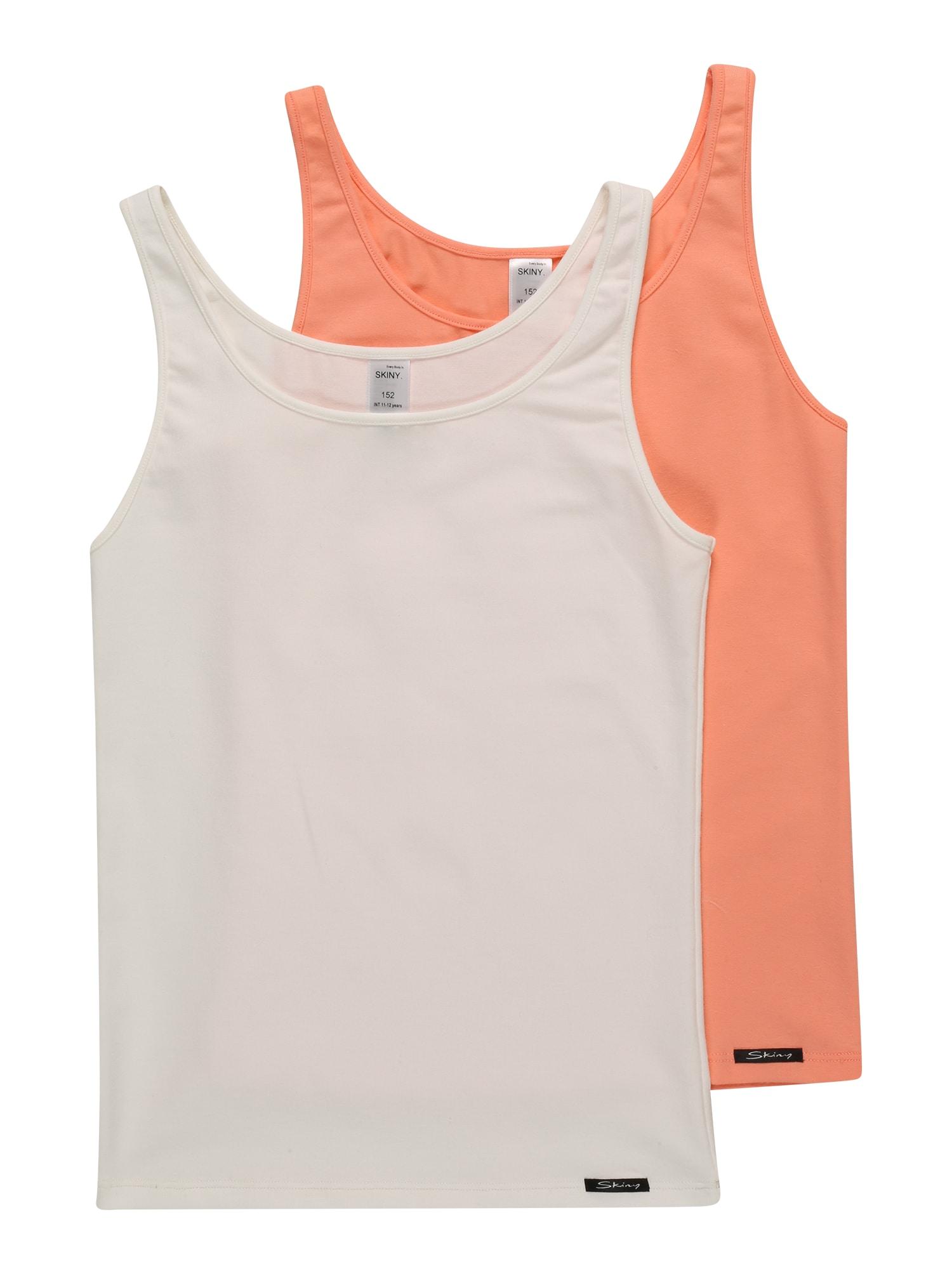 Skiny Apatiniai marškinėliai balta / juoda / koralų splava