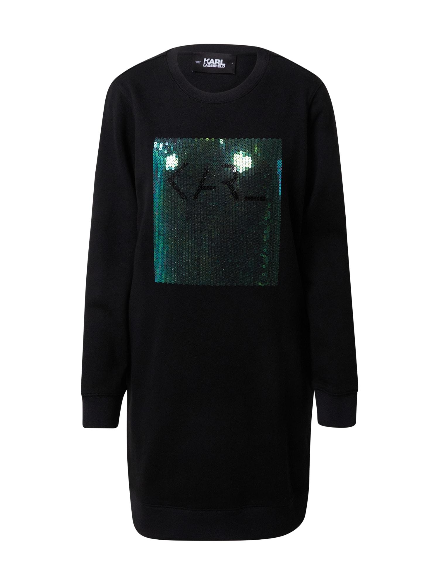 Karl Lagerfeld Suknelė juoda / tamsiai žalia