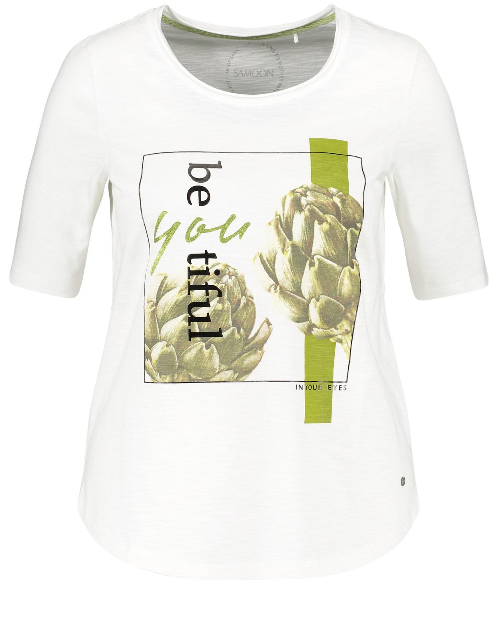 SAMOON Marškinėliai šviesiai žalia / juoda / balkšva