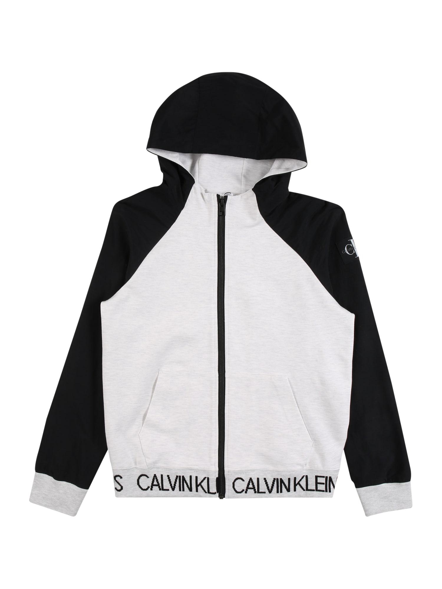 Calvin Klein Jeans Džemperis margai balta / juoda