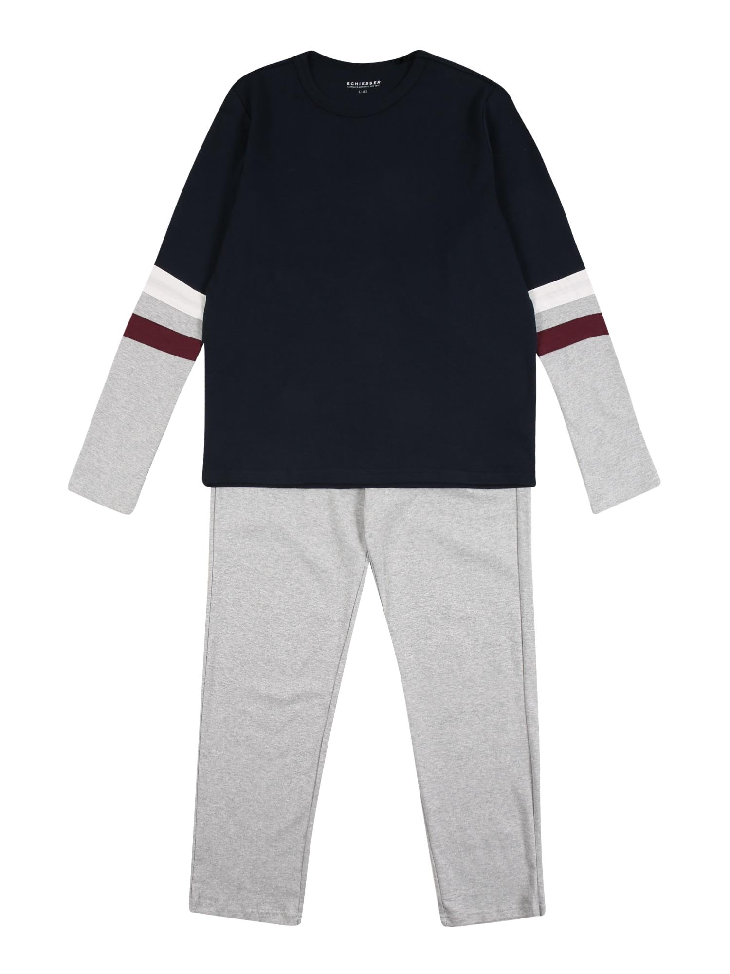 SCHIESSER Pyžamo 'Downhill'  šedá / bílá / námořnická modř / burgundská červeň