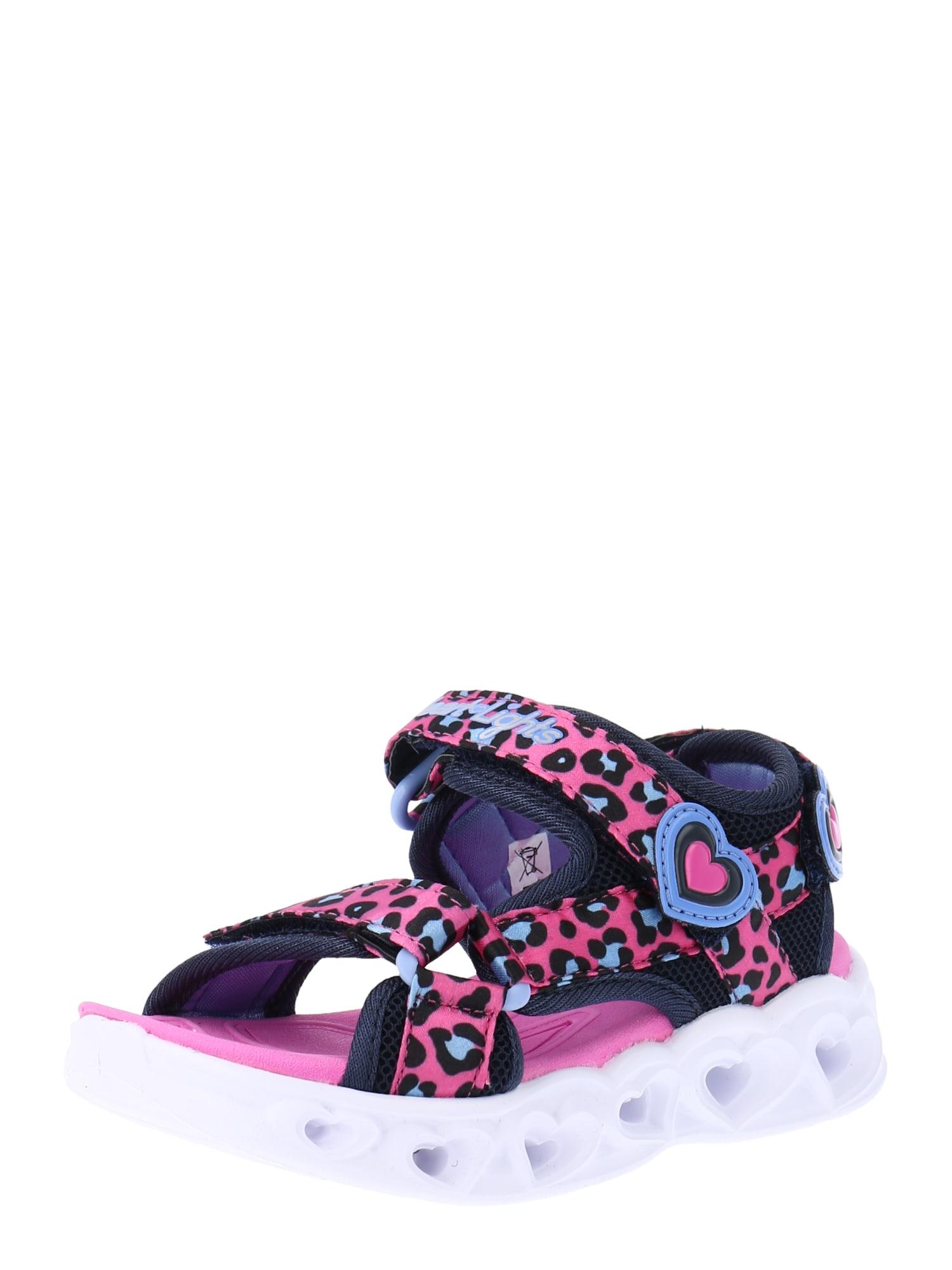 SKECHERS Sandalai juoda / rožinė / mėlyna dūmų spalva