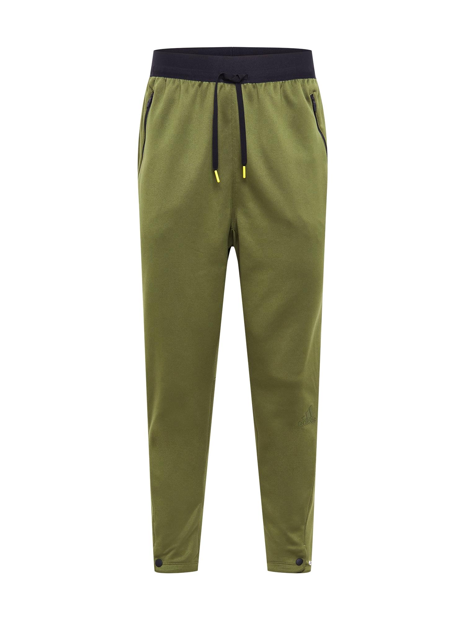 ADIDAS PERFORMANCE Sportinės kelnės rusvai žalia / juoda