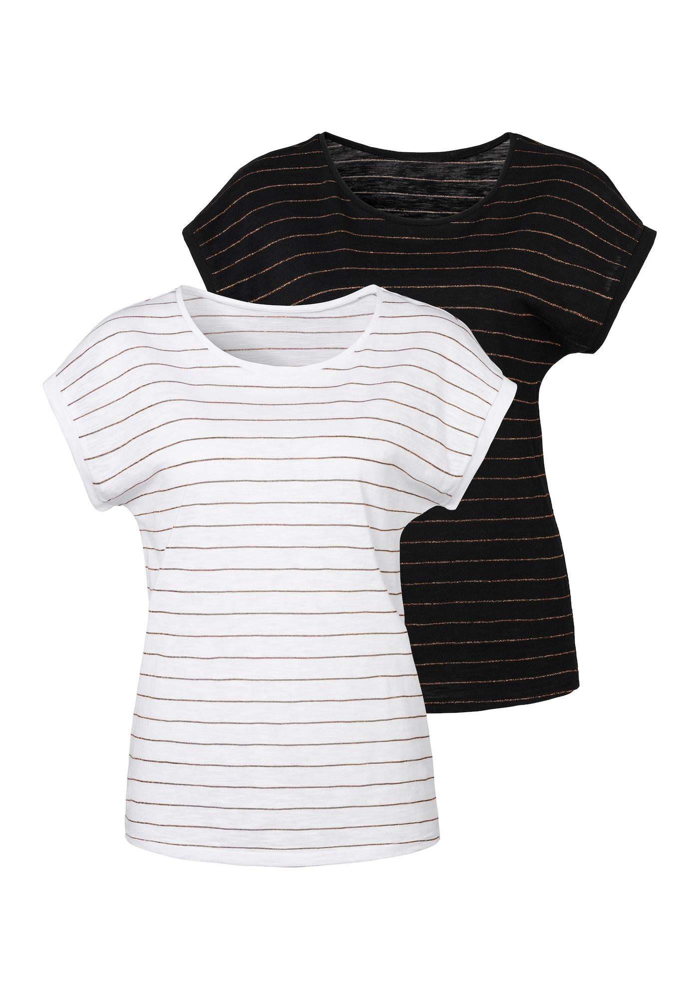 VIVANCE Marškinėliai balta / juoda / auksas