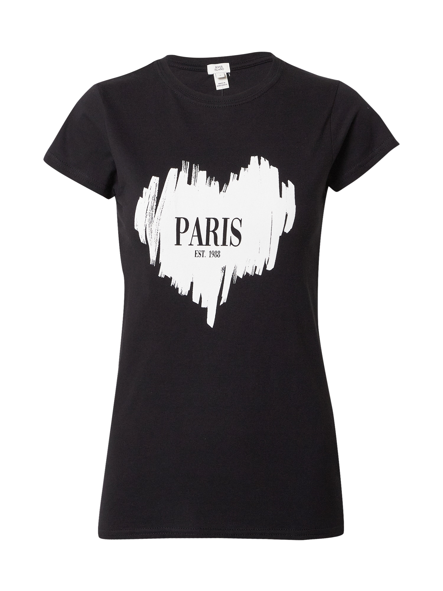 River Island Tričko 'Paris Sketchy Heart'  černá