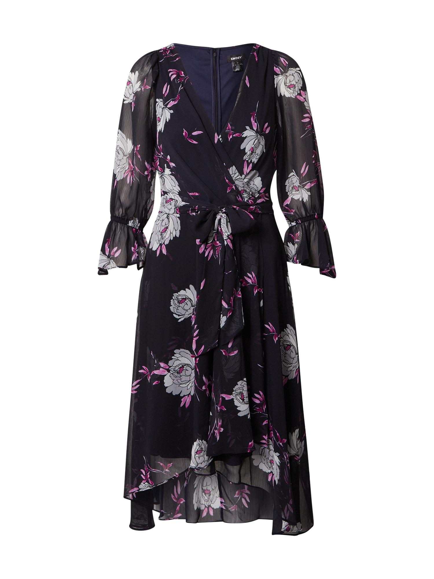 DKNY Suknelė tamsiai mėlyna / balta / ciklameno spalva / rožinė