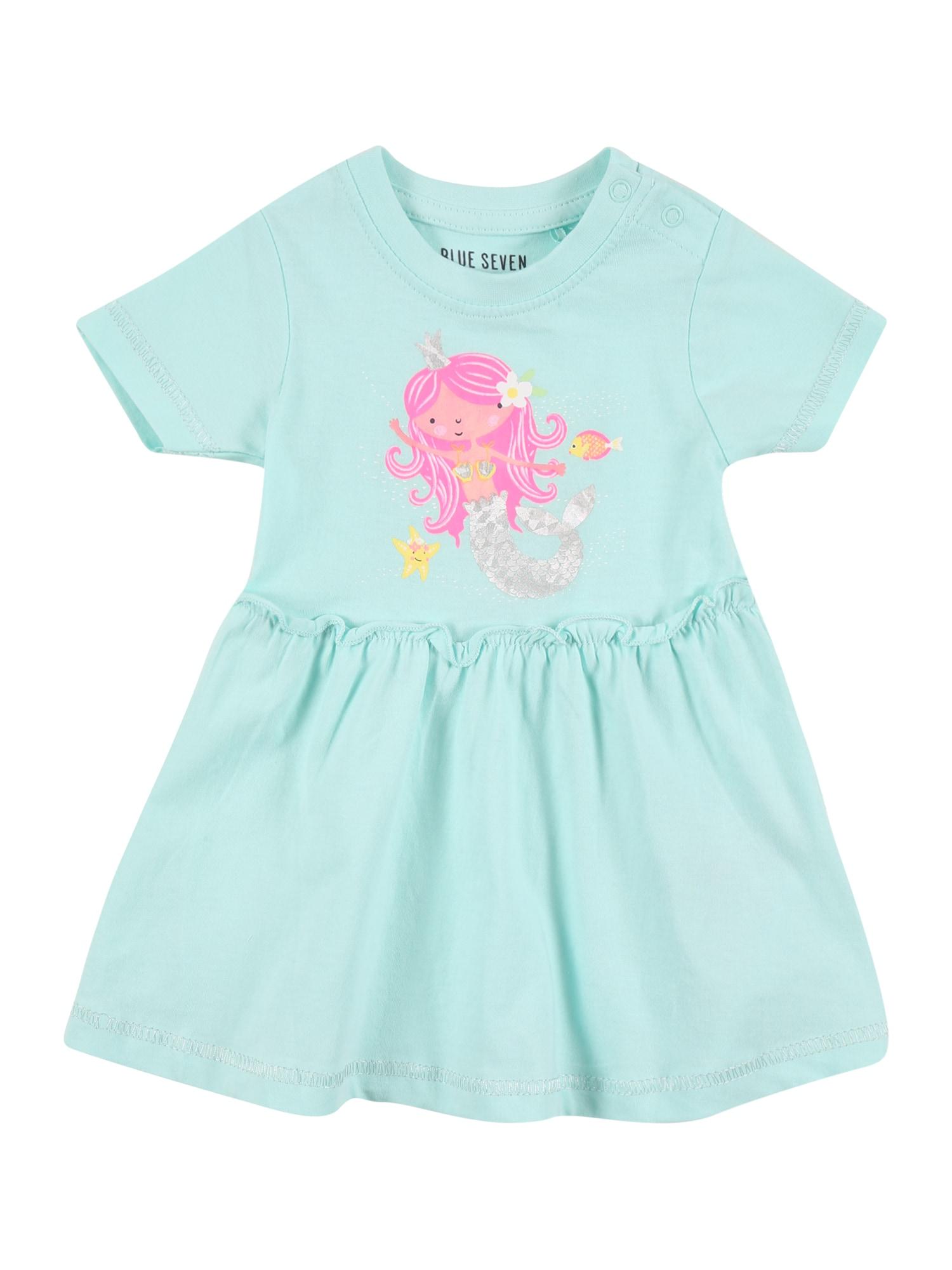 BLUE SEVEN Suknelė turkio spalva / šviesiai rožinė / sidabrinė / balta / pastelinė oranžinė