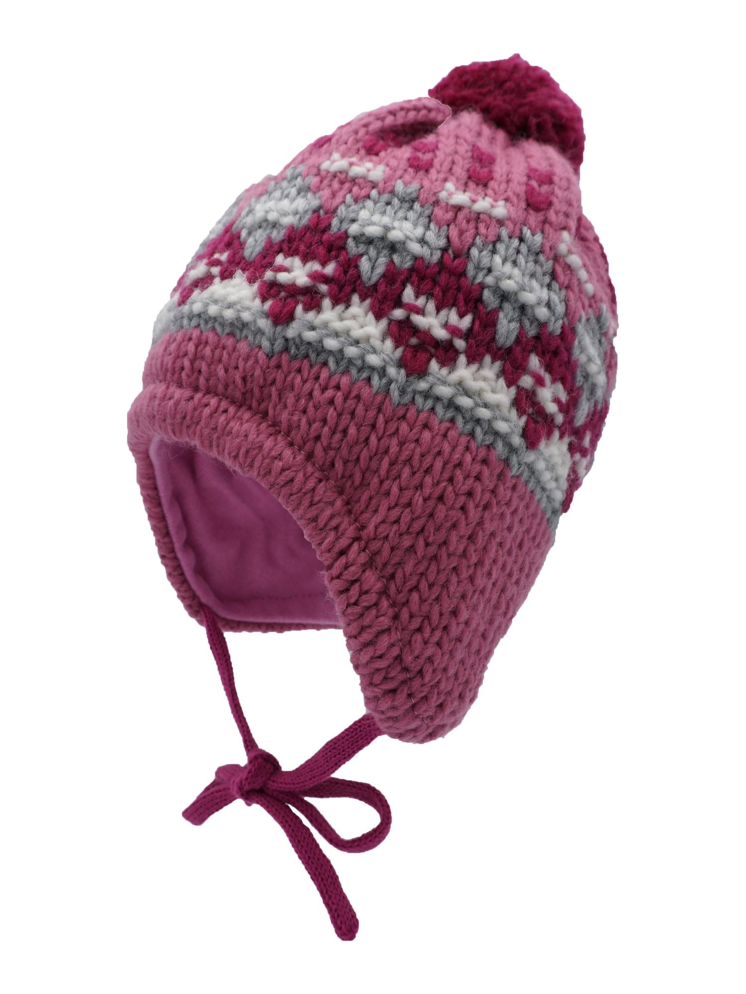 MAXIMO Megzta kepurė balta / rožinė / eozino spalva