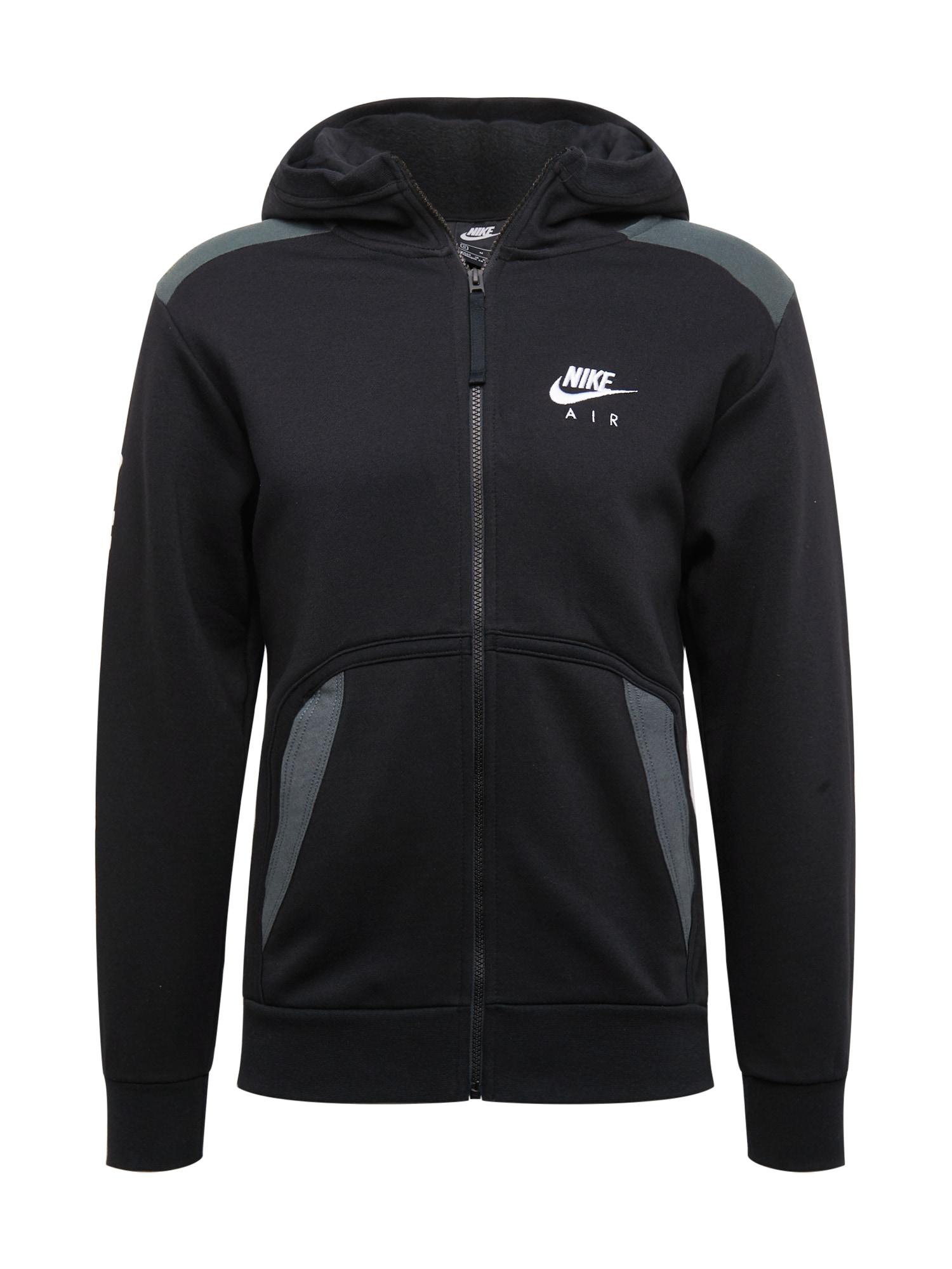 Nike Sportswear Džemperis juoda / dūmų pilka / balta