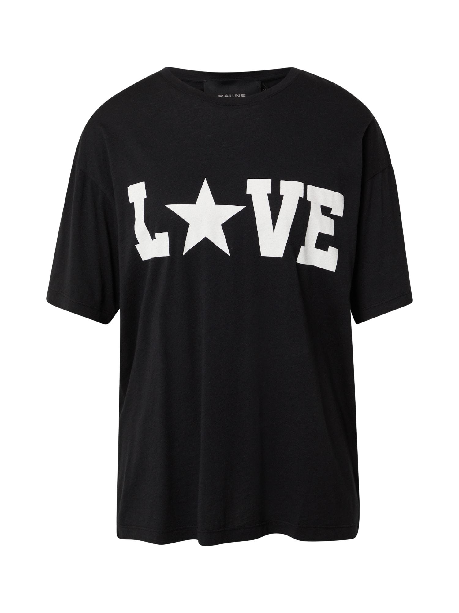 RAIINE Marškinėliai juoda / balta