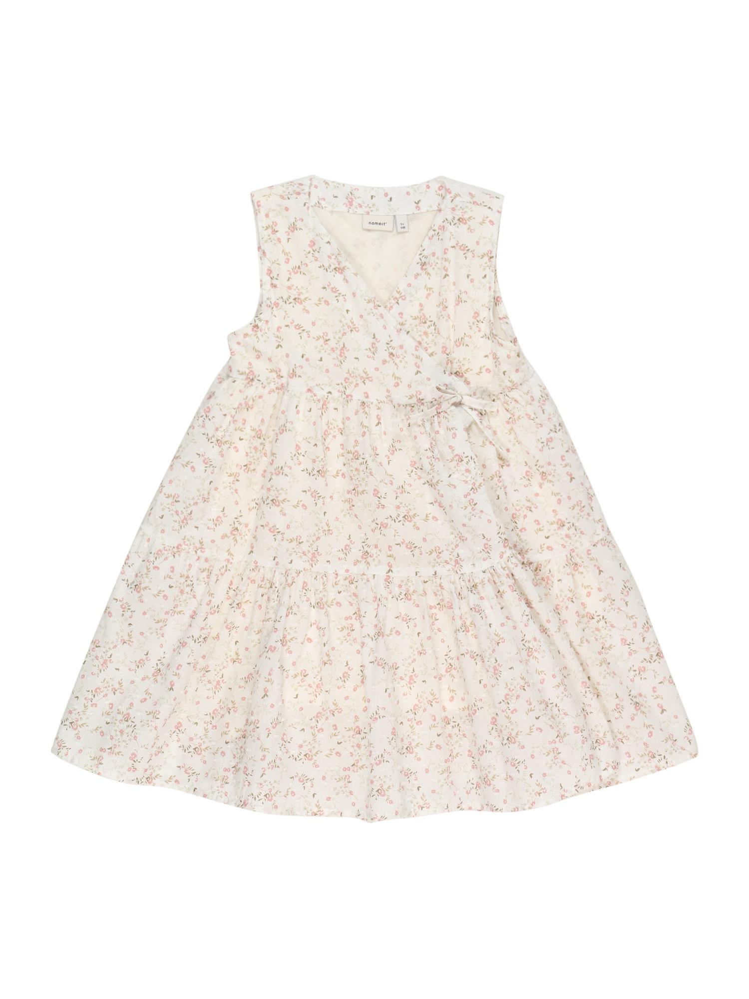 NAME IT Suknelė 'FIREANT SPENCER' balta / ryškiai rožinė spalva / citrinos spalva