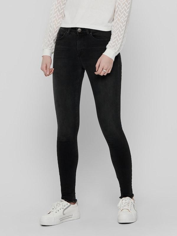 Only Blush Life Mid-Rise knöchellange Skinny Jeans mit unverarbeitetem Saum in Schwarz