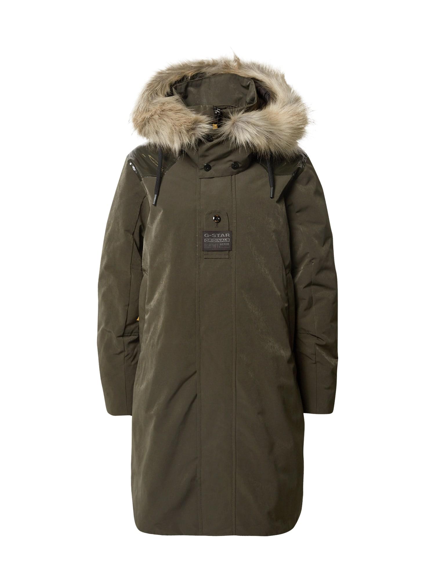 G-Star RAW Žieminis paltas alyvuogių spalva
