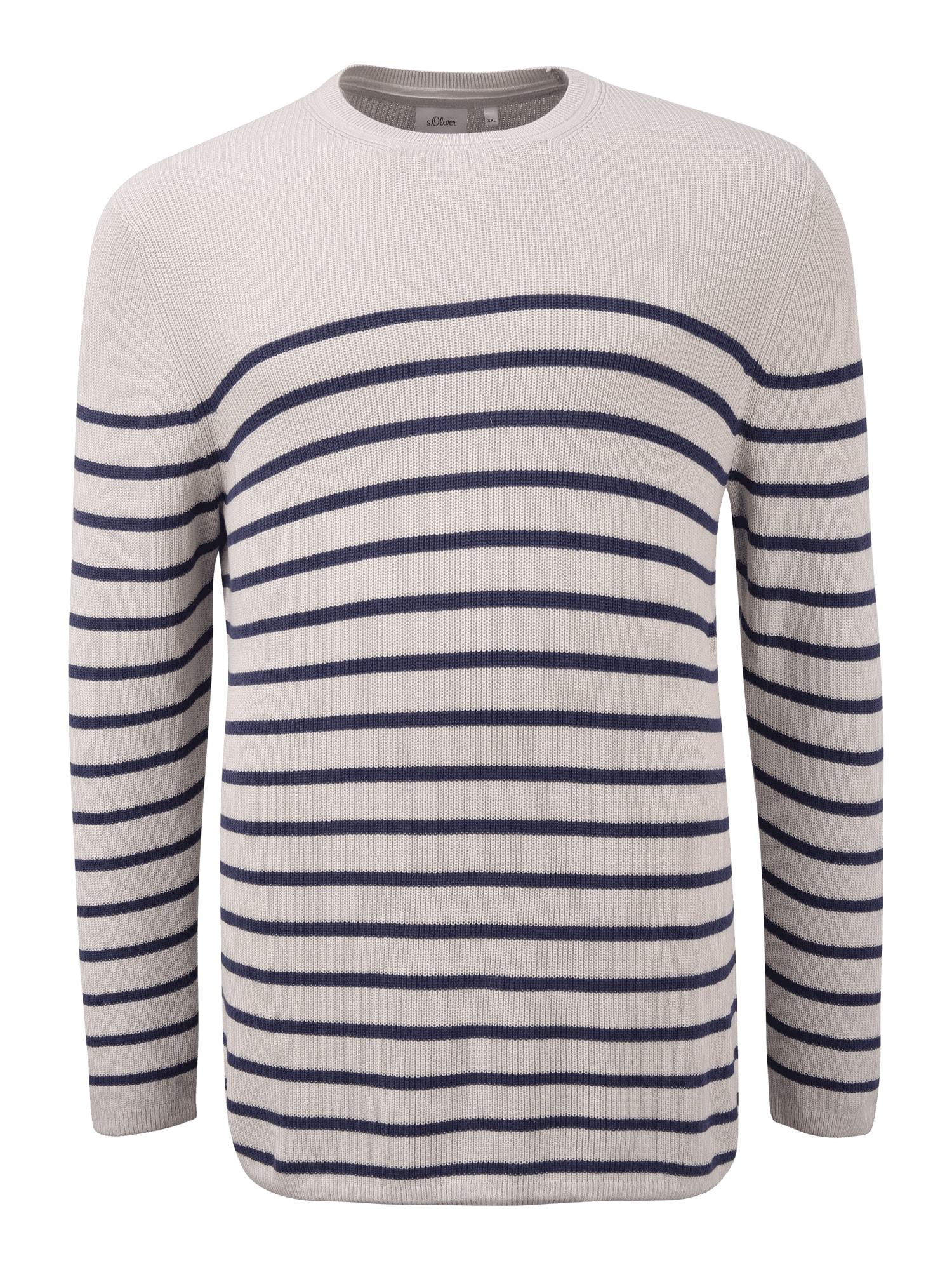 s.Oliver Red Label Big & Tall Megztinis tamsiai mėlyna / smėlio spalva