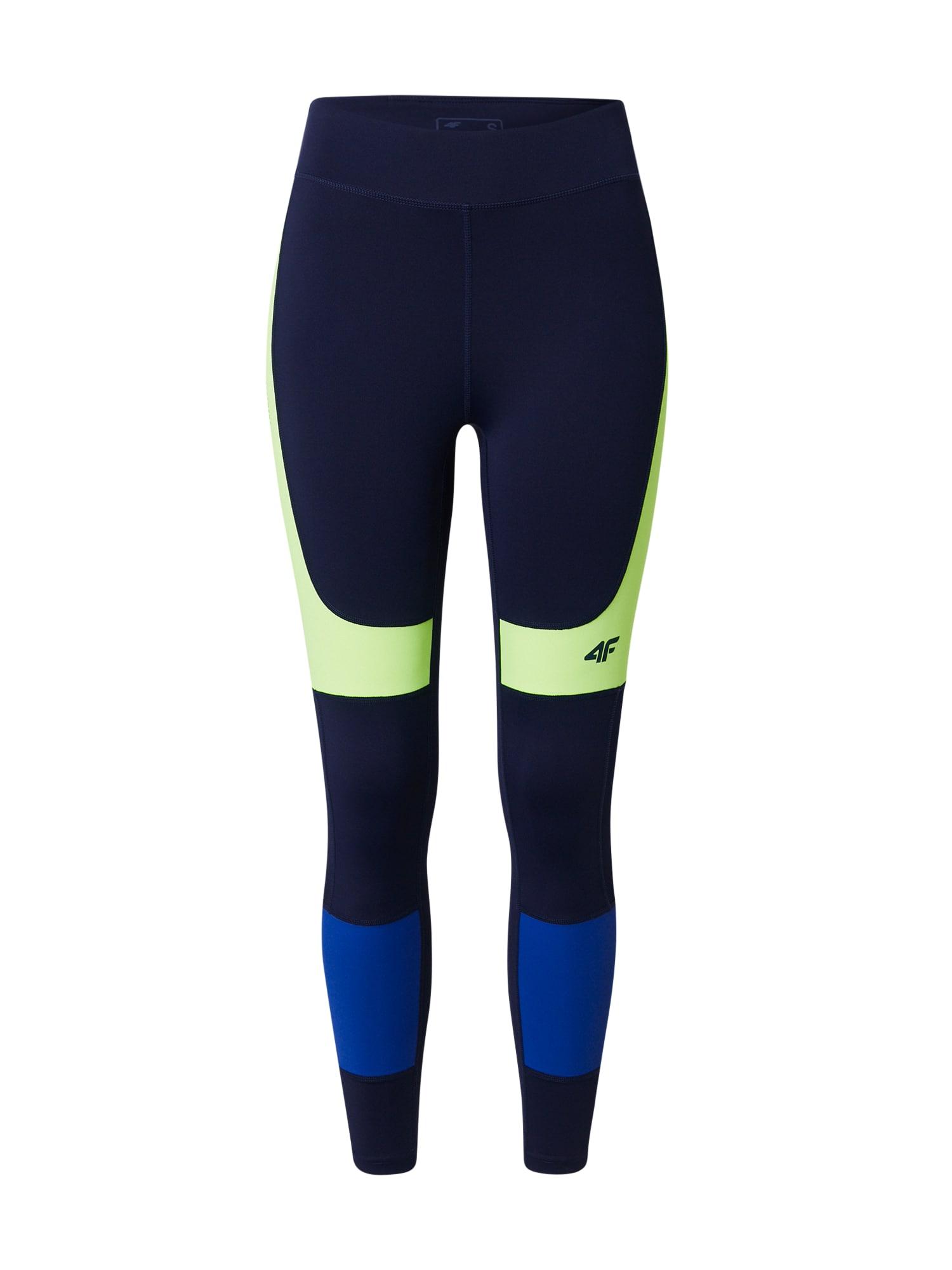 4F Sportinės kelnės tamsiai mėlyna / mėlyna / neoninė geltona