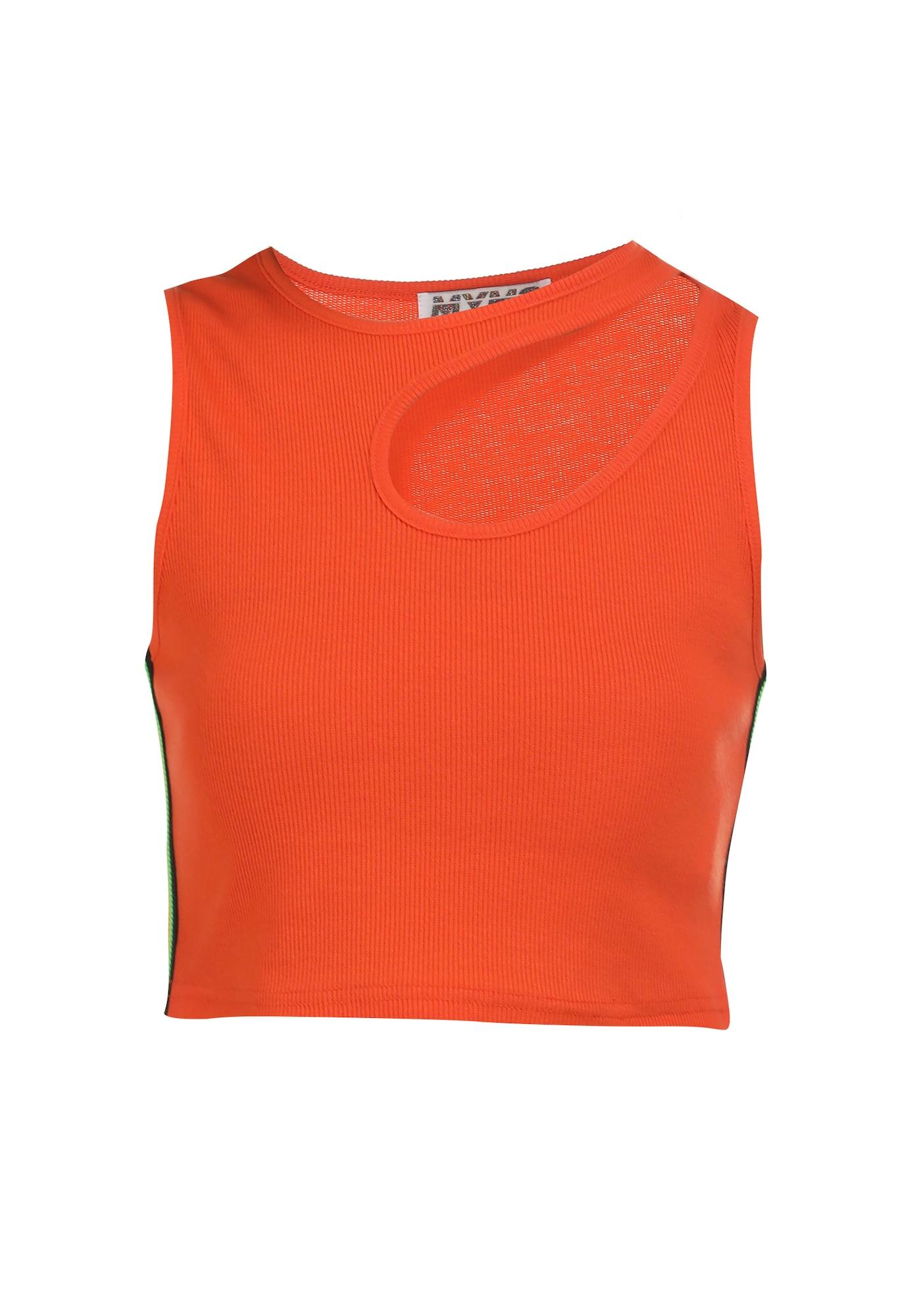 myMo ATHLSR Sportiniai marškinėliai be rankovių neoninė žalia / juoda / neoninė oranžinė