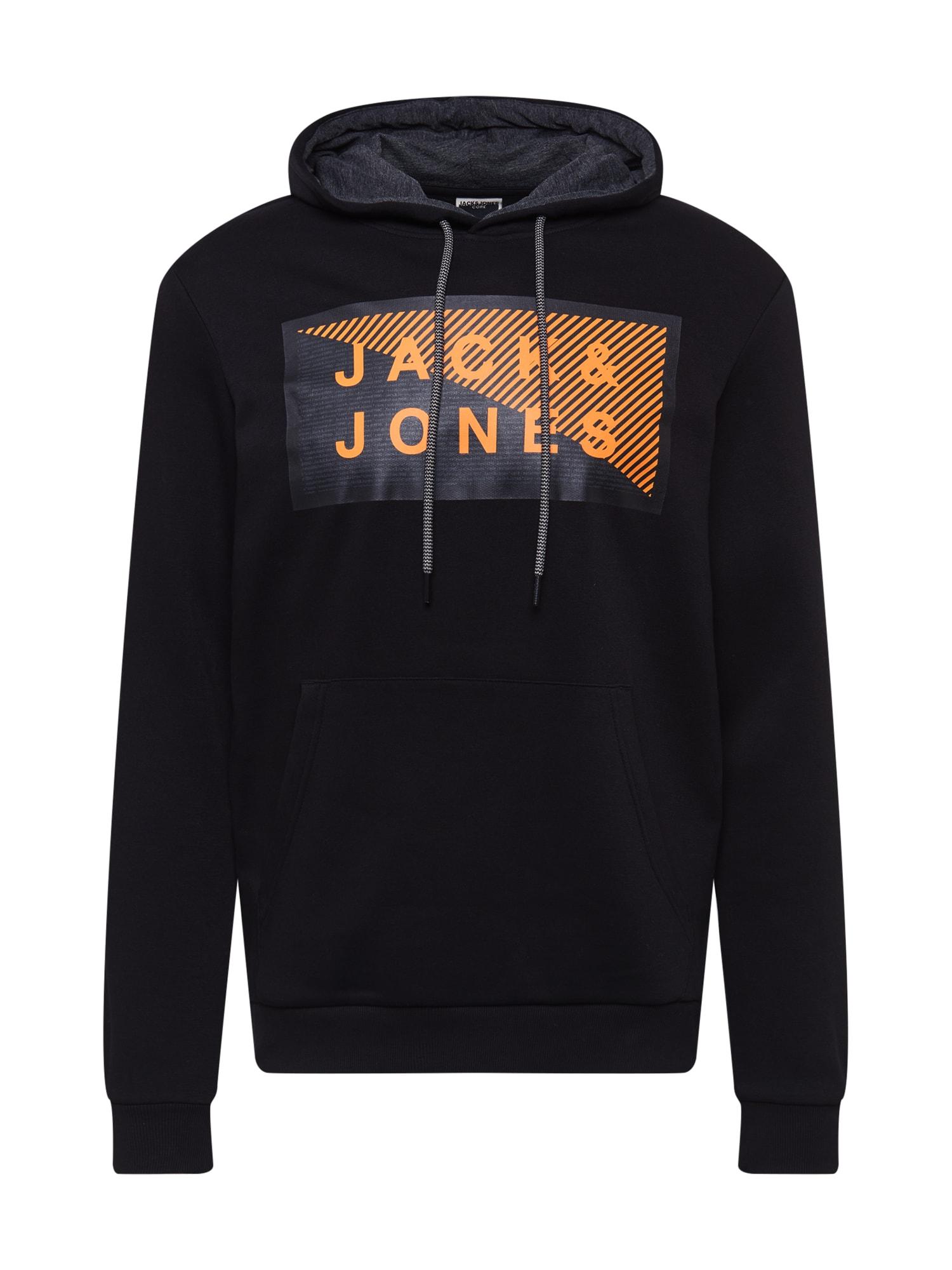 JACK & JONES Mikina 'SHAWN'  černá / oranžová