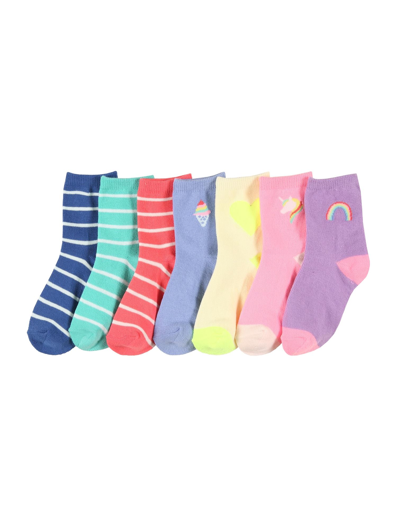 GAP Kojinės tamsiai mėlyna / balta / purpurinė / šviesiai geltona / šviesiai rožinė