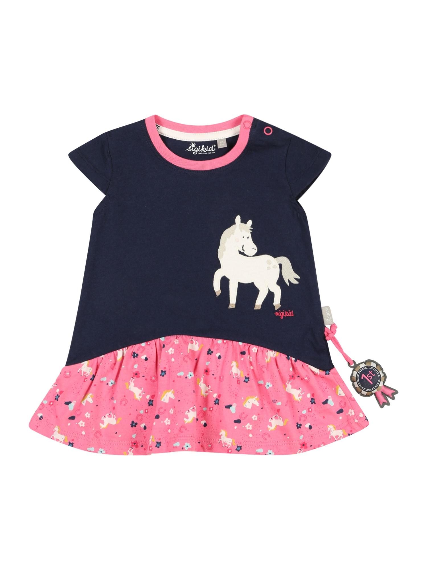 SIGIKID Suknelė tamsiai mėlyna / rožinė / smėlio spalva
